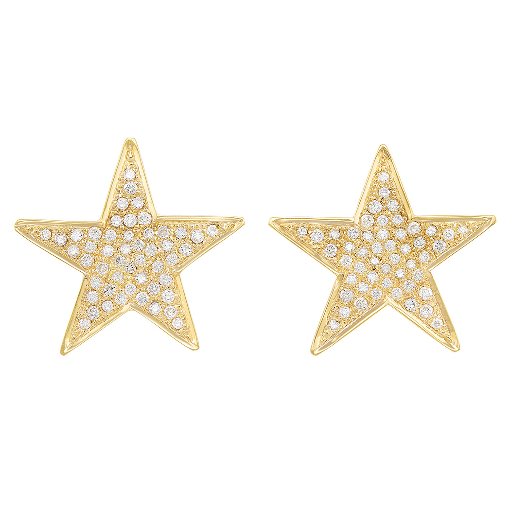 Lot image - Pair of Gold and Diamond Star Earclips