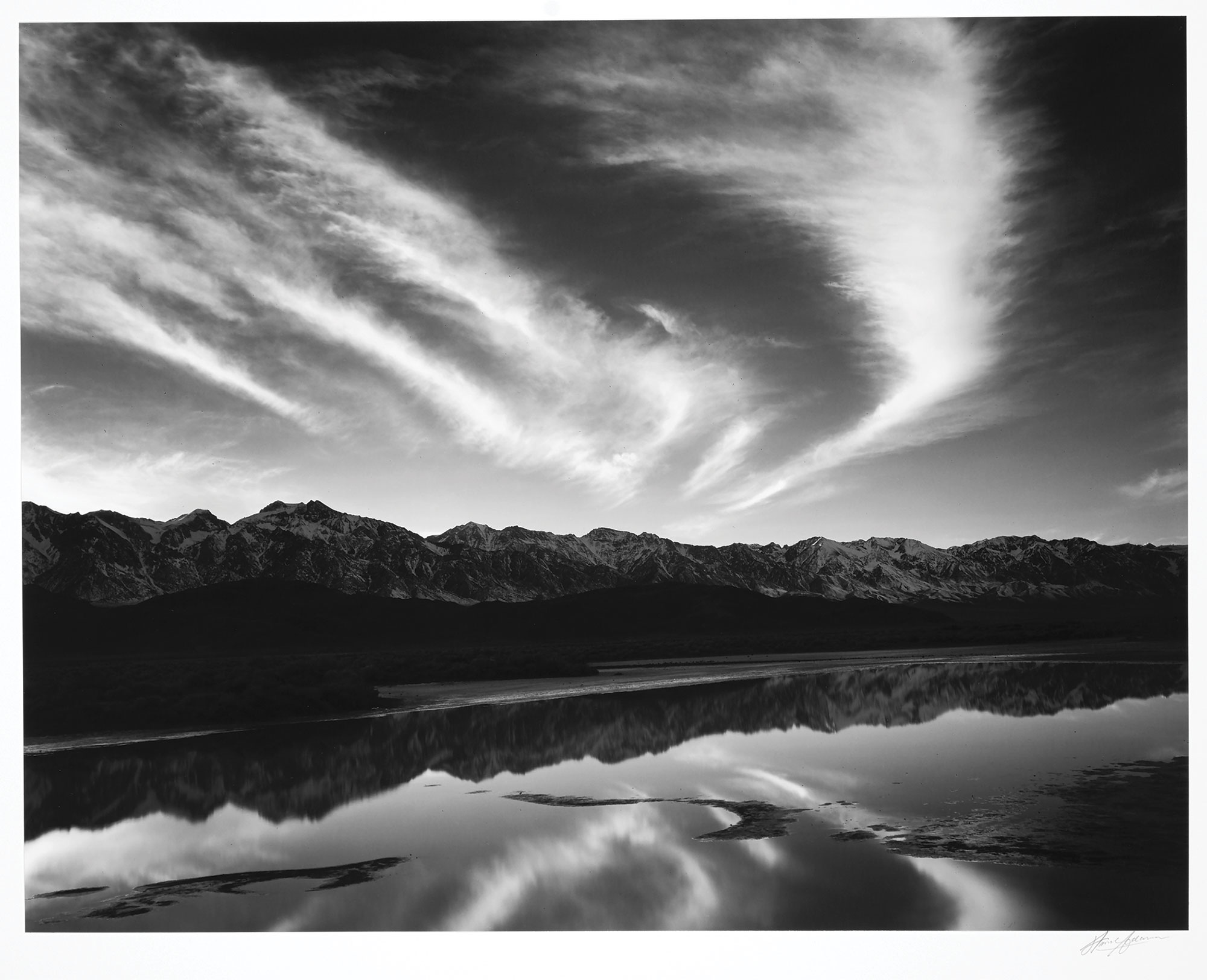 Lot image - ADAMS, ANSEL (1902-1984)  Evening Clouds and Pool, East Side of the Sierra from the Owens Valley, California,