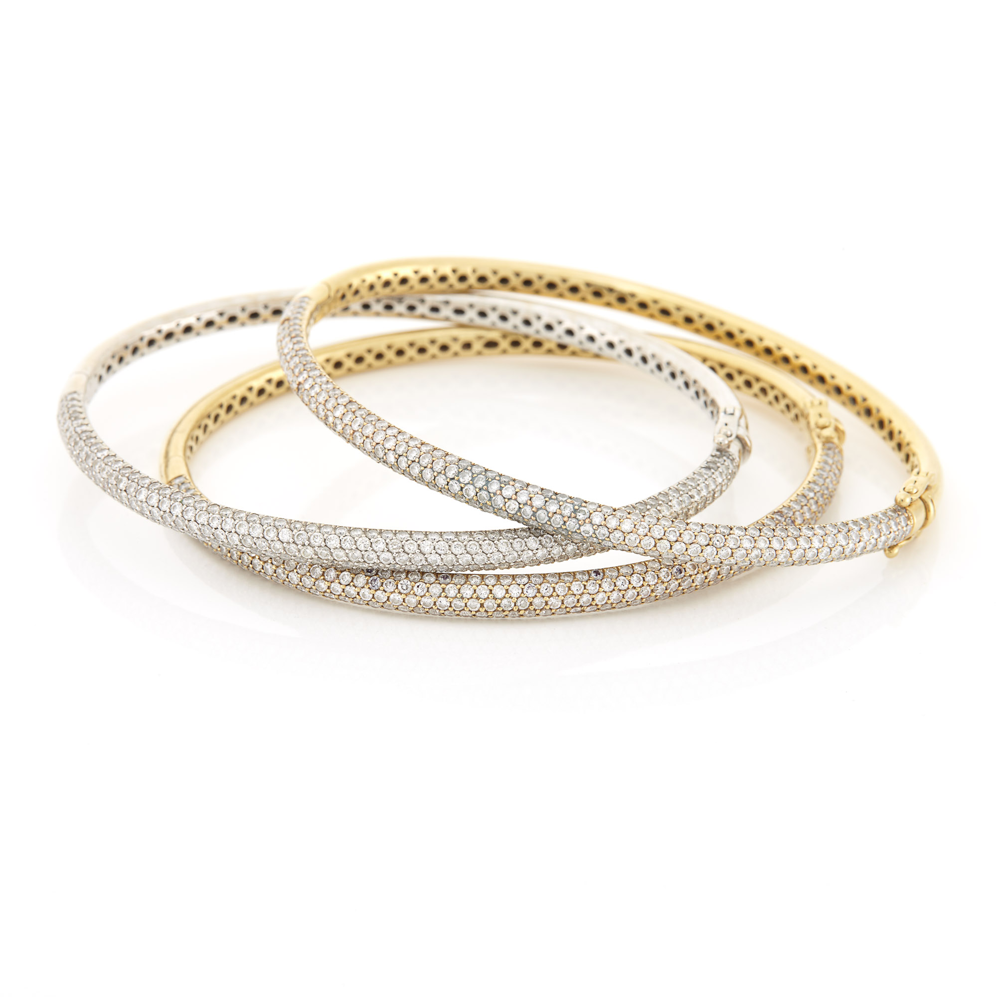 Lot image - Three Yellow and White Gold and Diamond Bangle Bracelets