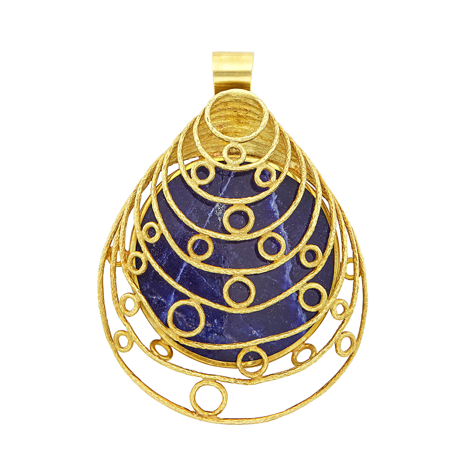 Lot image - Gold and Sodalite Pendant Clip-Brooch