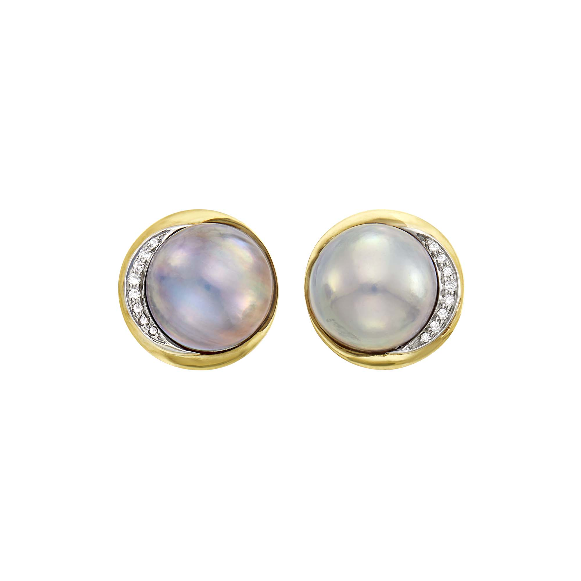 Lot image - Tiffany & Co. Pair of Gold, Gray Mabé Pearl and Diamond Earclips