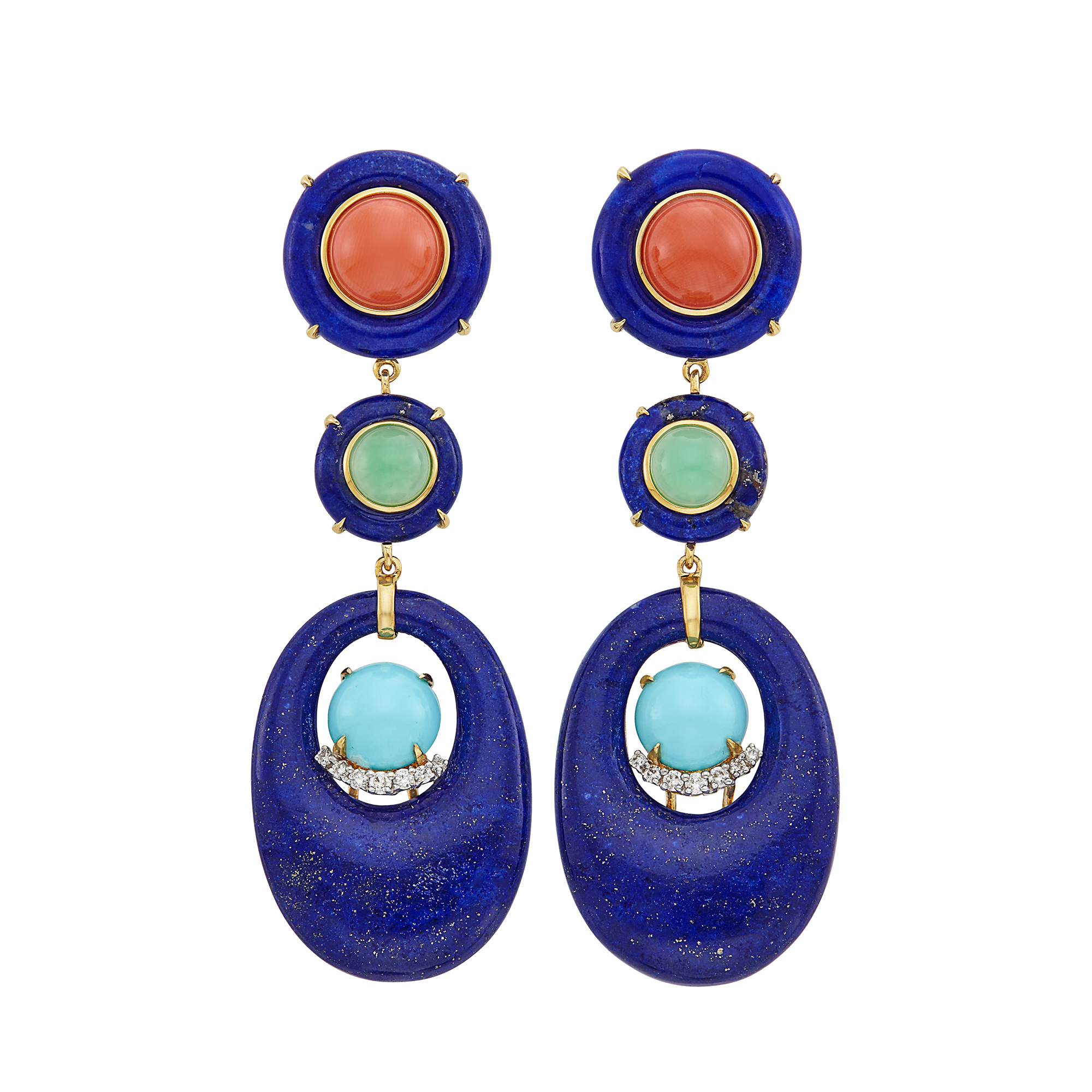 Lot image - Pair of Gold, Lapis, Turquoise, Green Chalcedony, Coral and Diamond Pendant-Earclips
