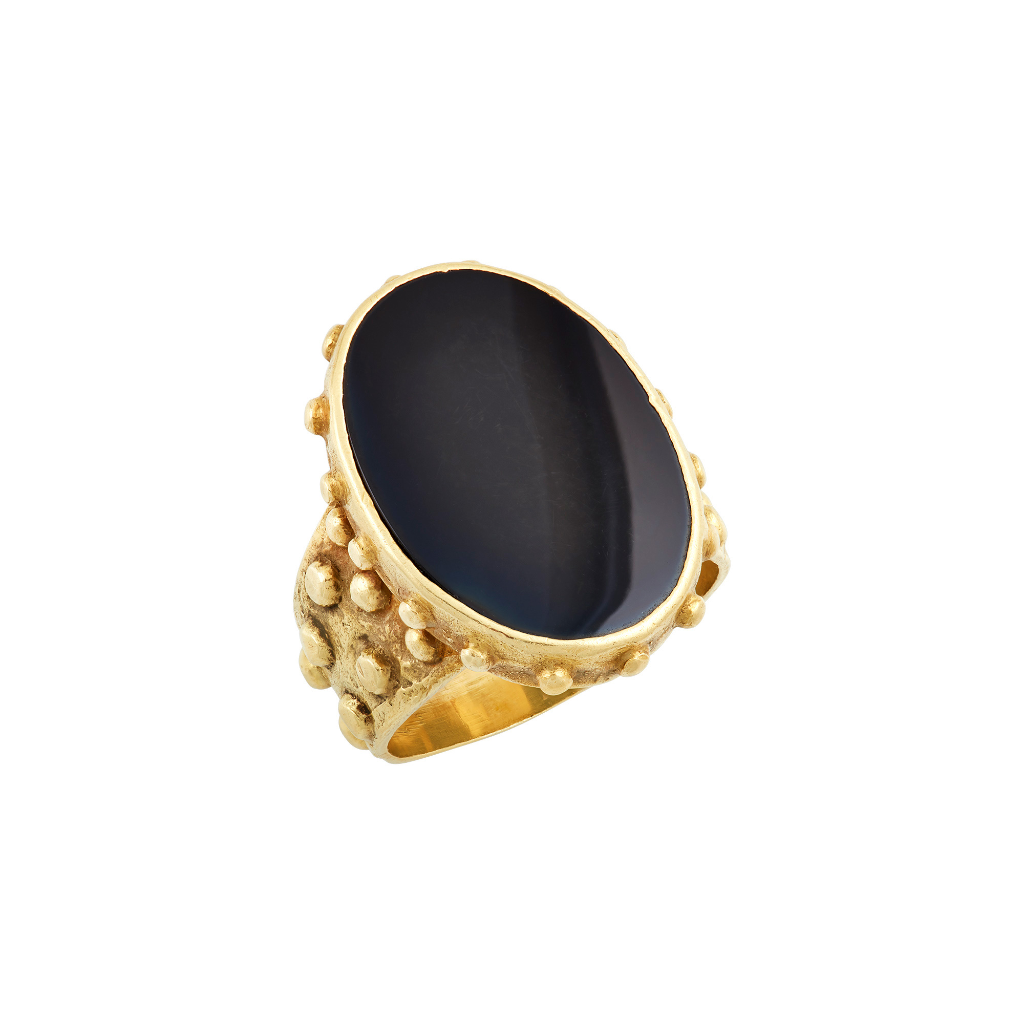 Lot image - Ed Wiener Gentlemans Modernist Gold and Black Onyx Ring