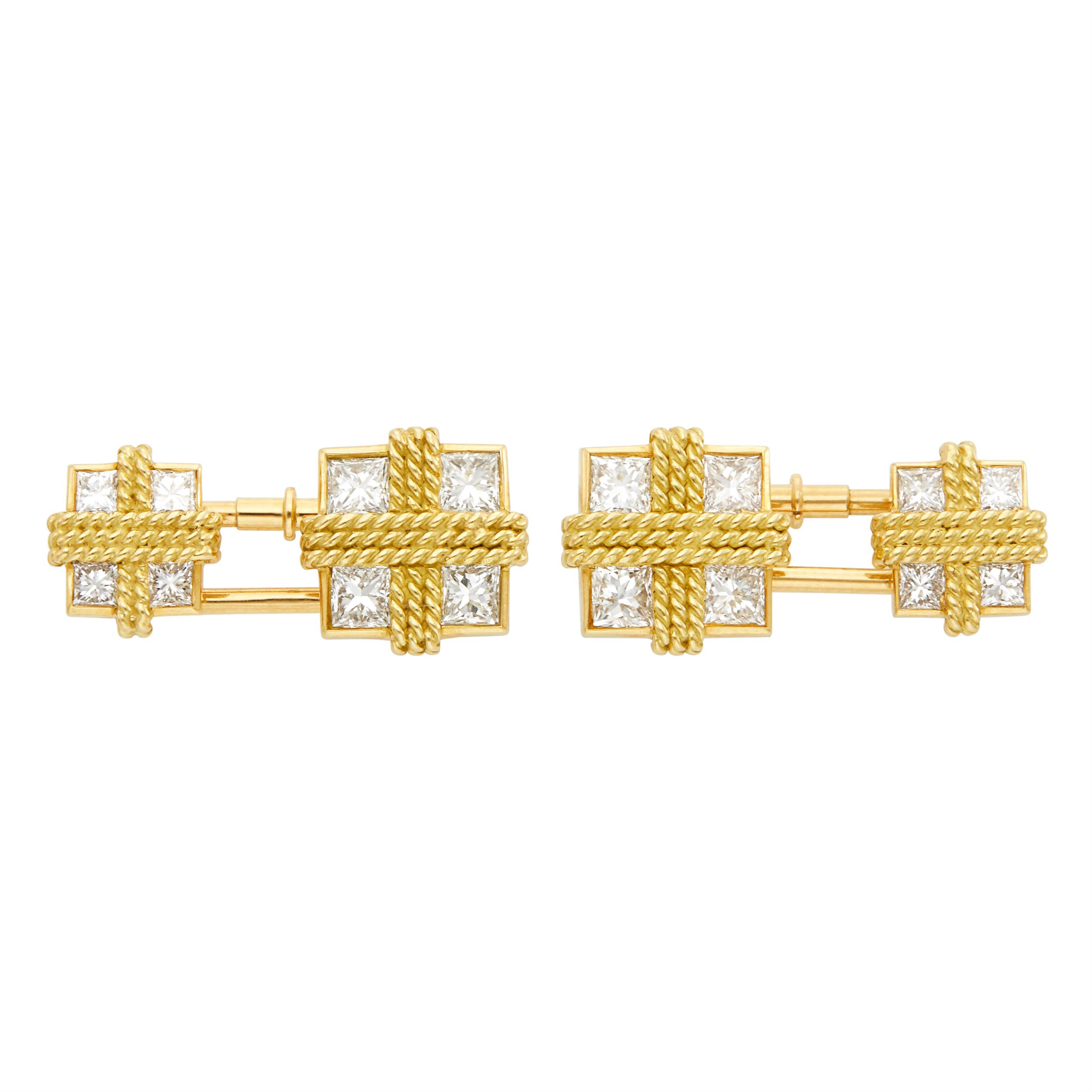 Lot image - Van Cleef & Arpels Pair of Gold and Diamond Cufflinks