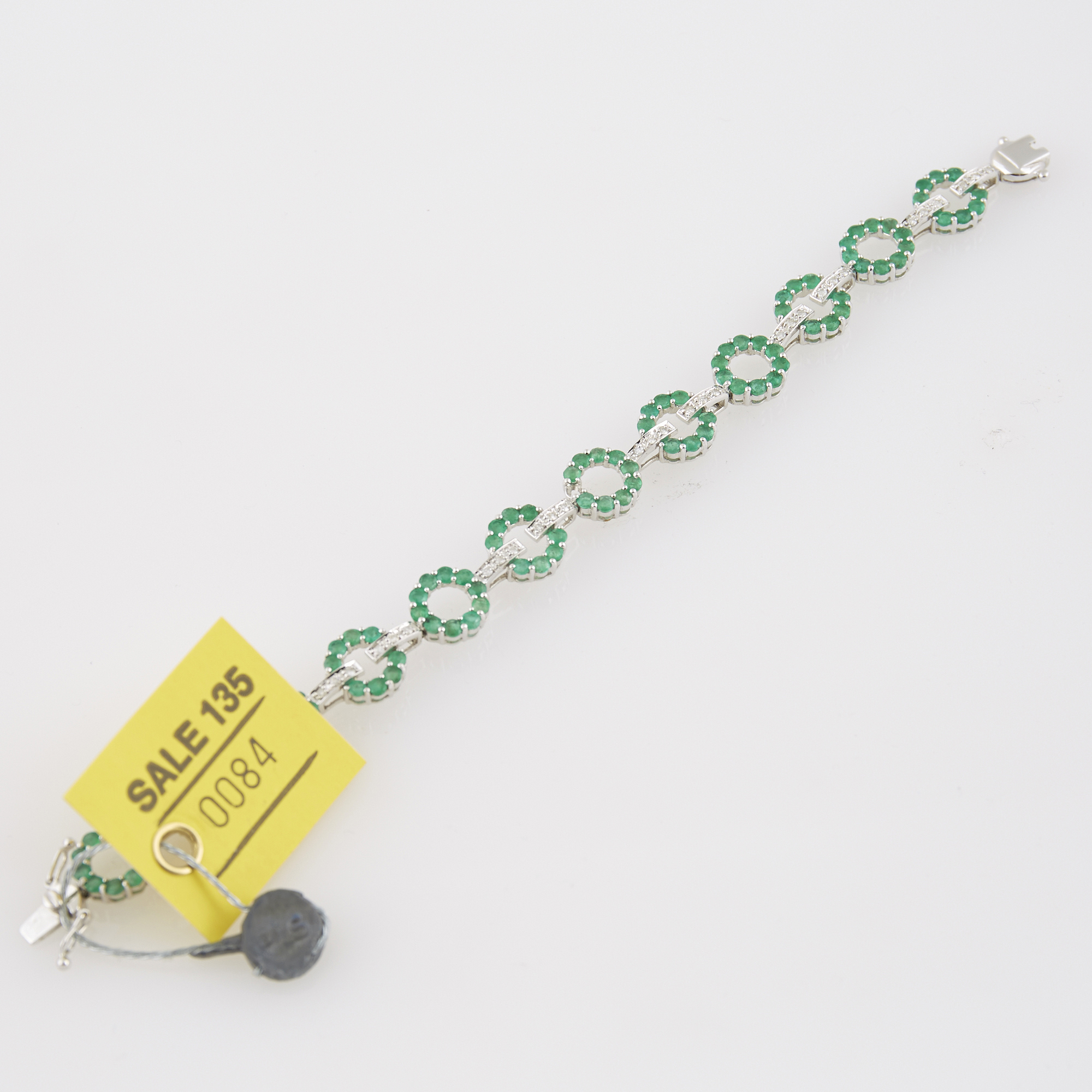 Lot image - Diamond and Stone Flexible Bracelet, 36 diamonds about 0.40 ct., 18K 10 dwt. all, stone missing