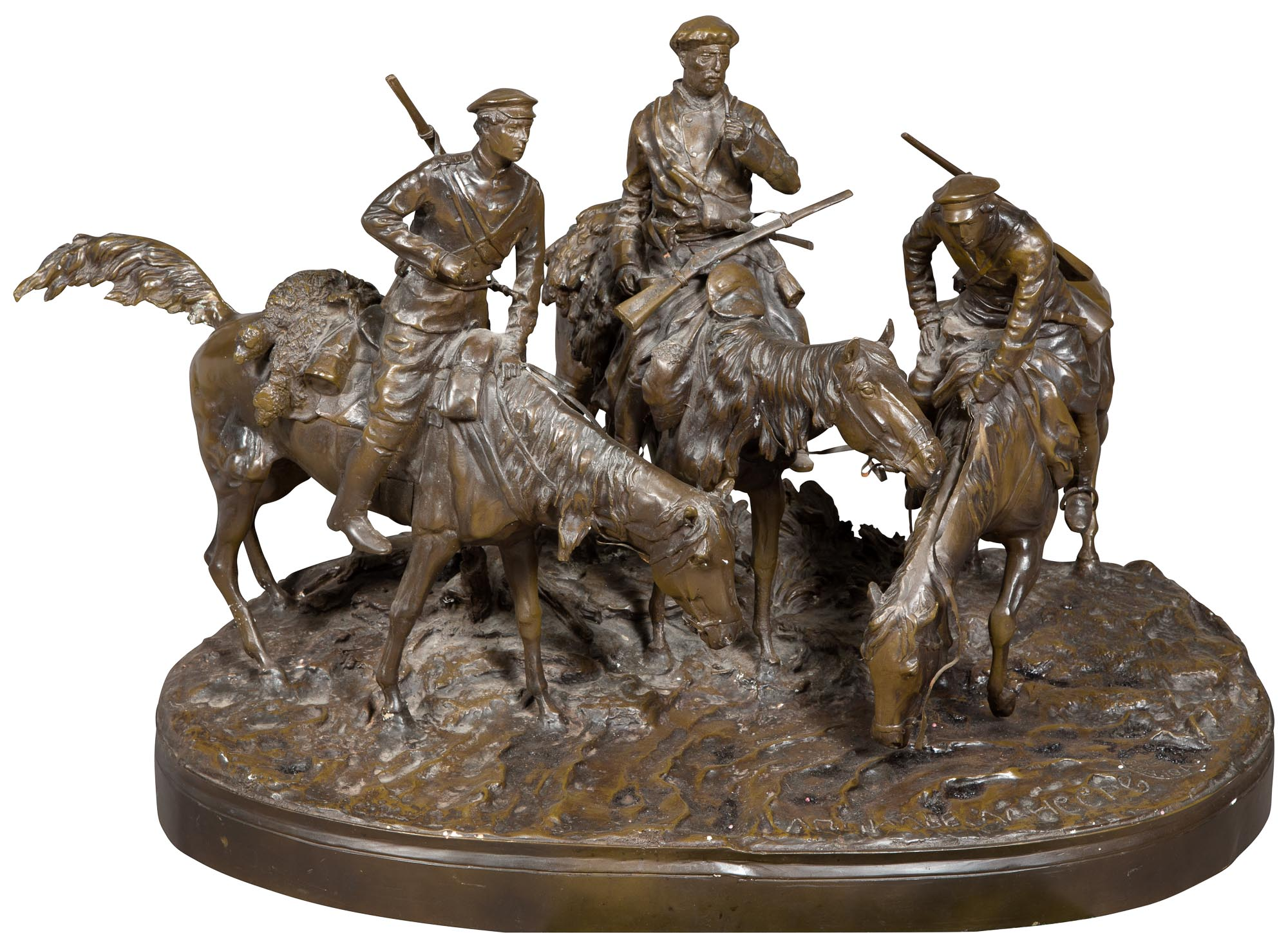 Lot image - Russian Style Bronze Group of Three Don Cossacks