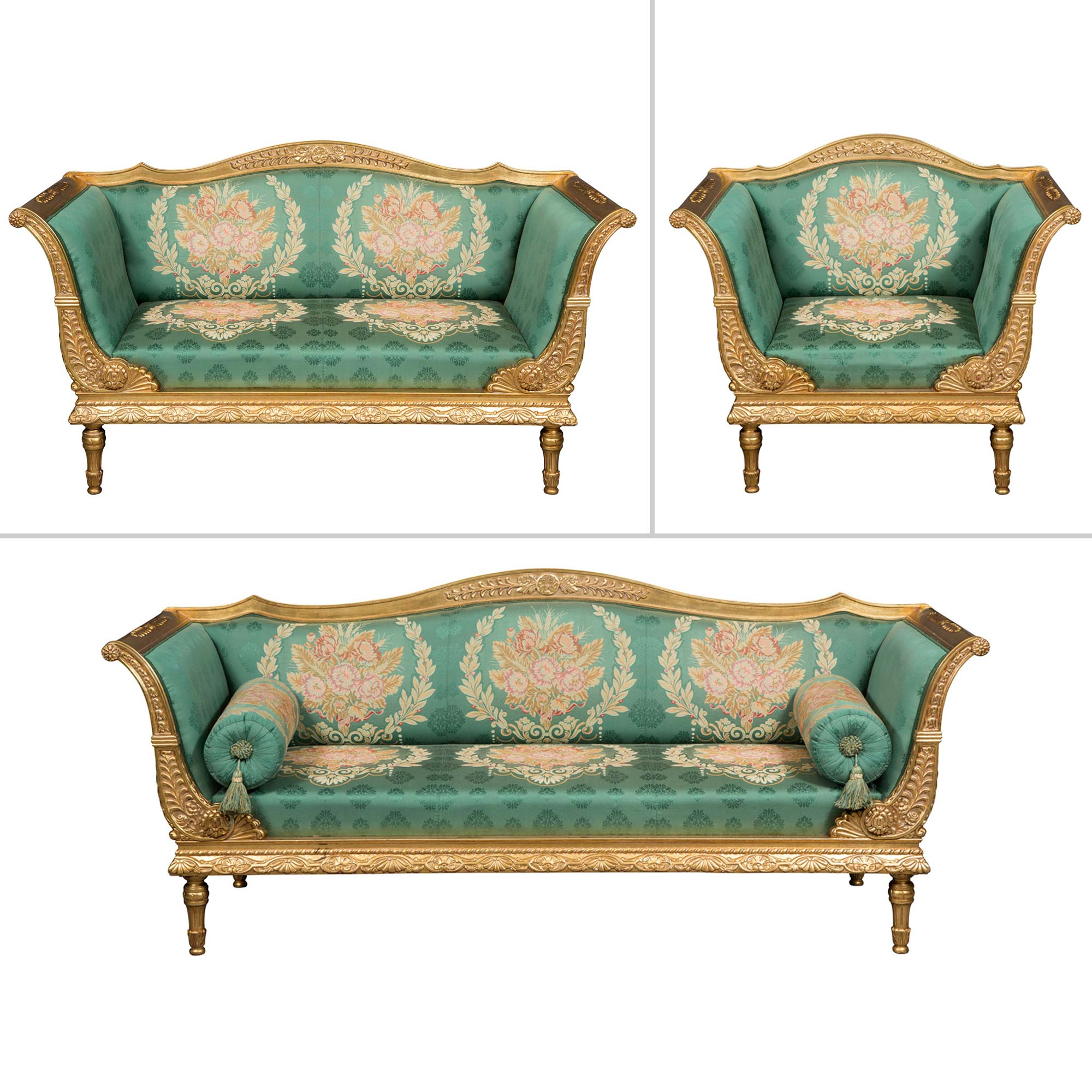 Lot image - Suite of Empire Style Giltwood Seating Furniture