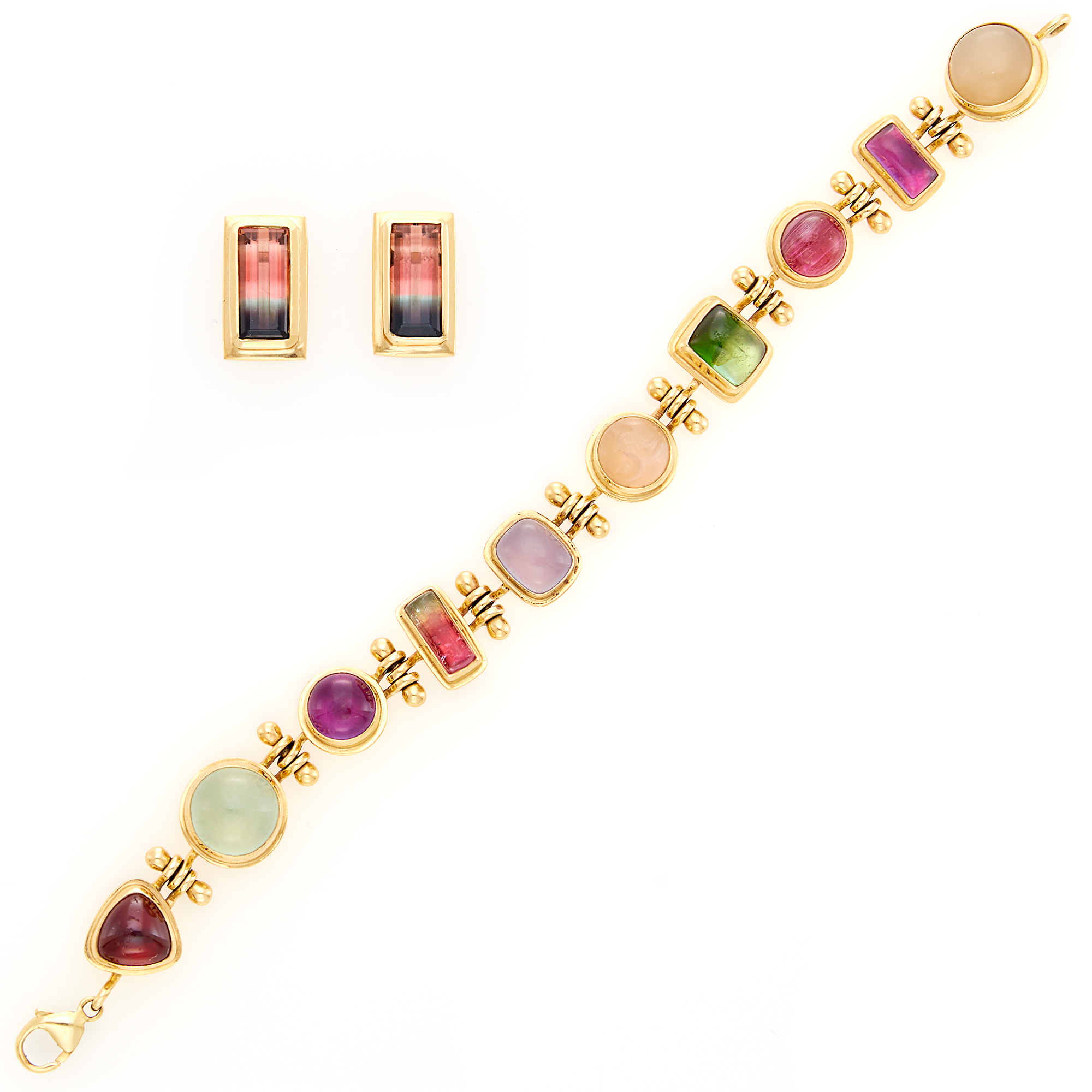 Lot image - Gold and Cabochon Colored Stone Bracelet and Pair of Gold and Watermelon Tourmaline Earrings
