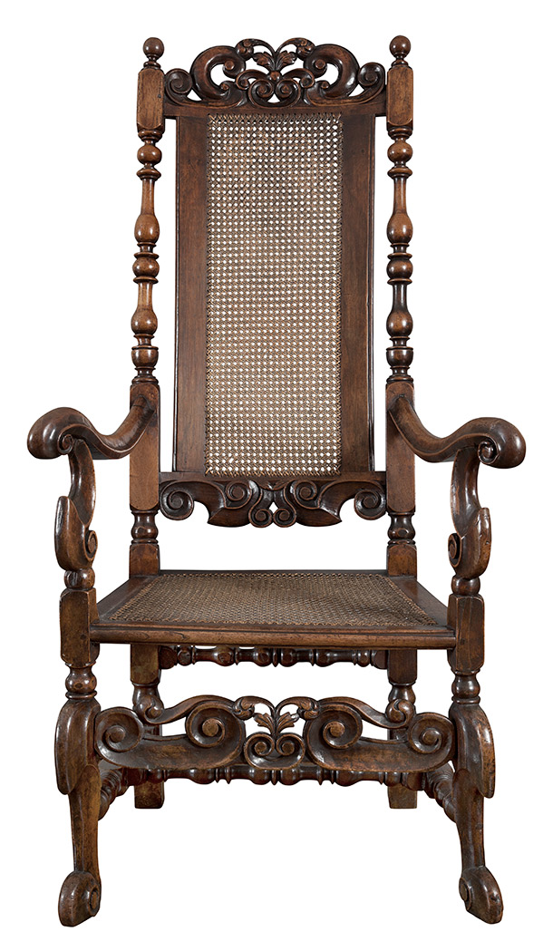 Lot image - William and Mary Walnut Caned Open Armchair