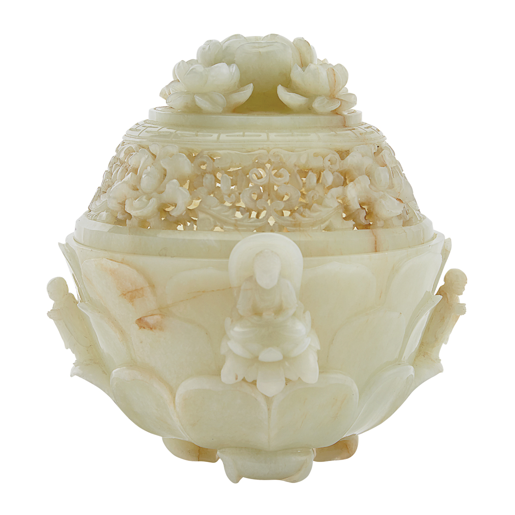 Lot image - Chinese White Jade Covered Censer