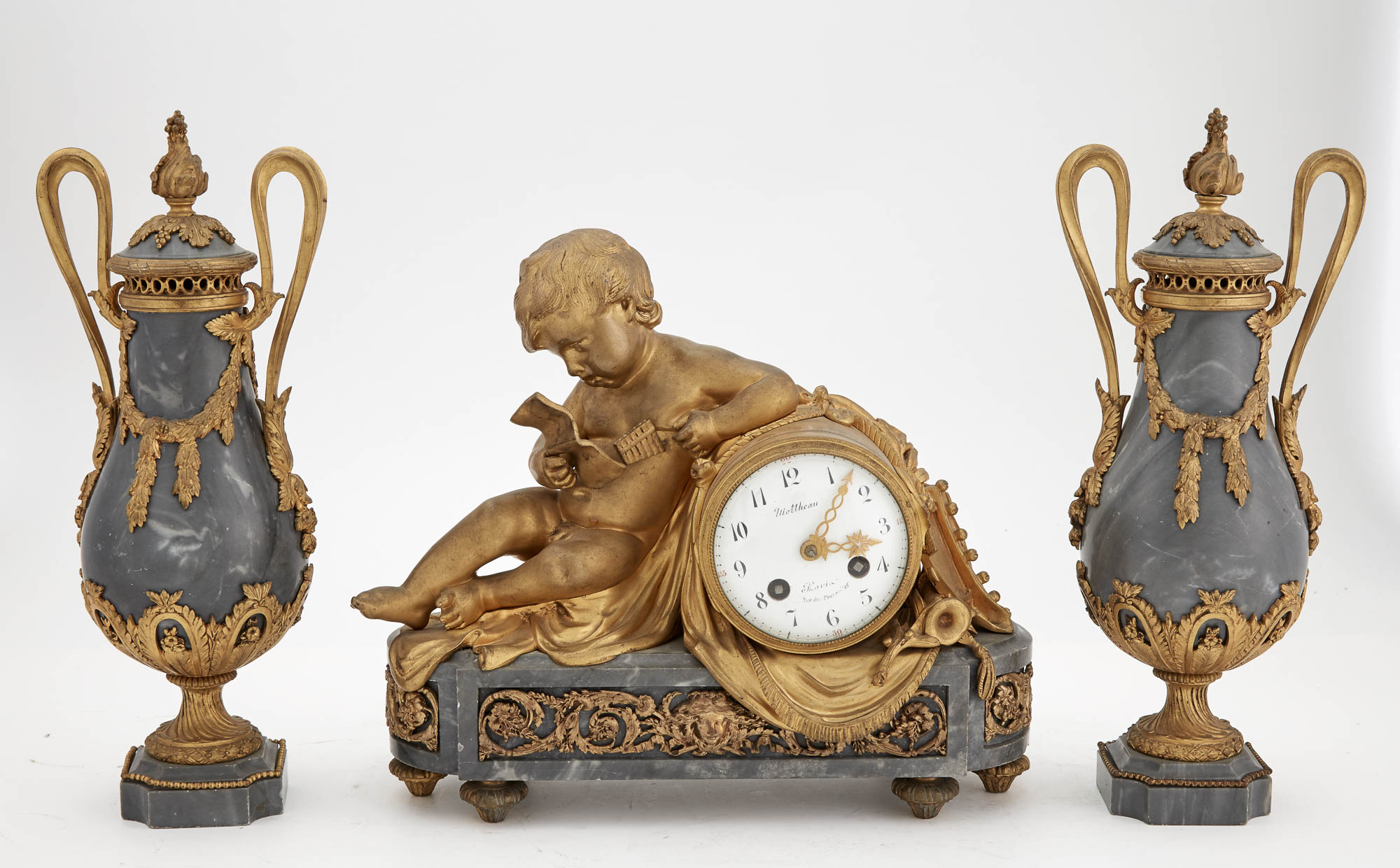 Lot image - Louis XVI Style Gilt-Bronze and Gray Marble Figural Clock Garniture