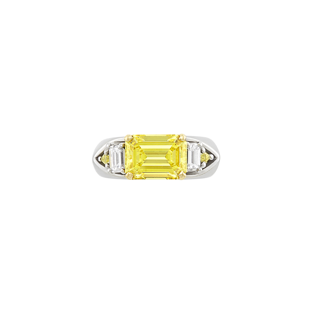 Lot image - Platinum, Fancy Vivid Yellow Diamond and Diamond Ring