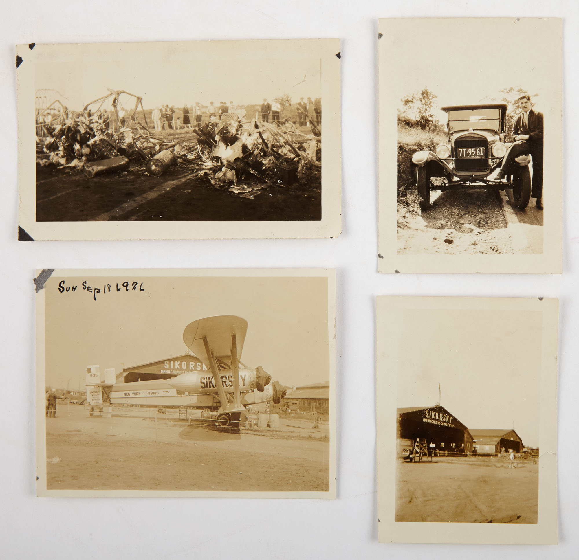 Lot image - [AVIATION]  Photographs of the wreck of the Sikorsky S-35, 1926.