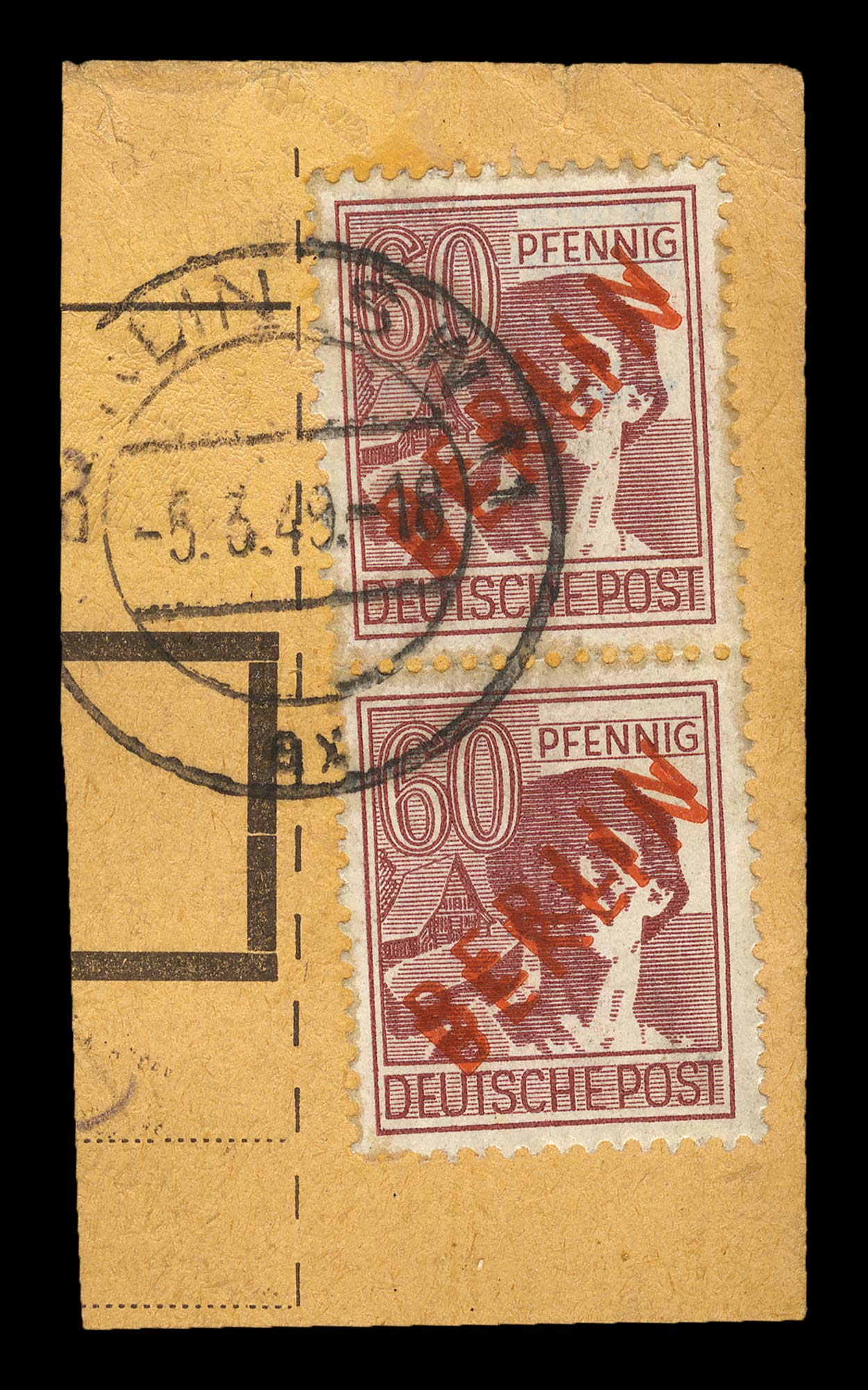 Lot image - Germany Berlin Occupation Double Overprint in Red, Michel 31DD