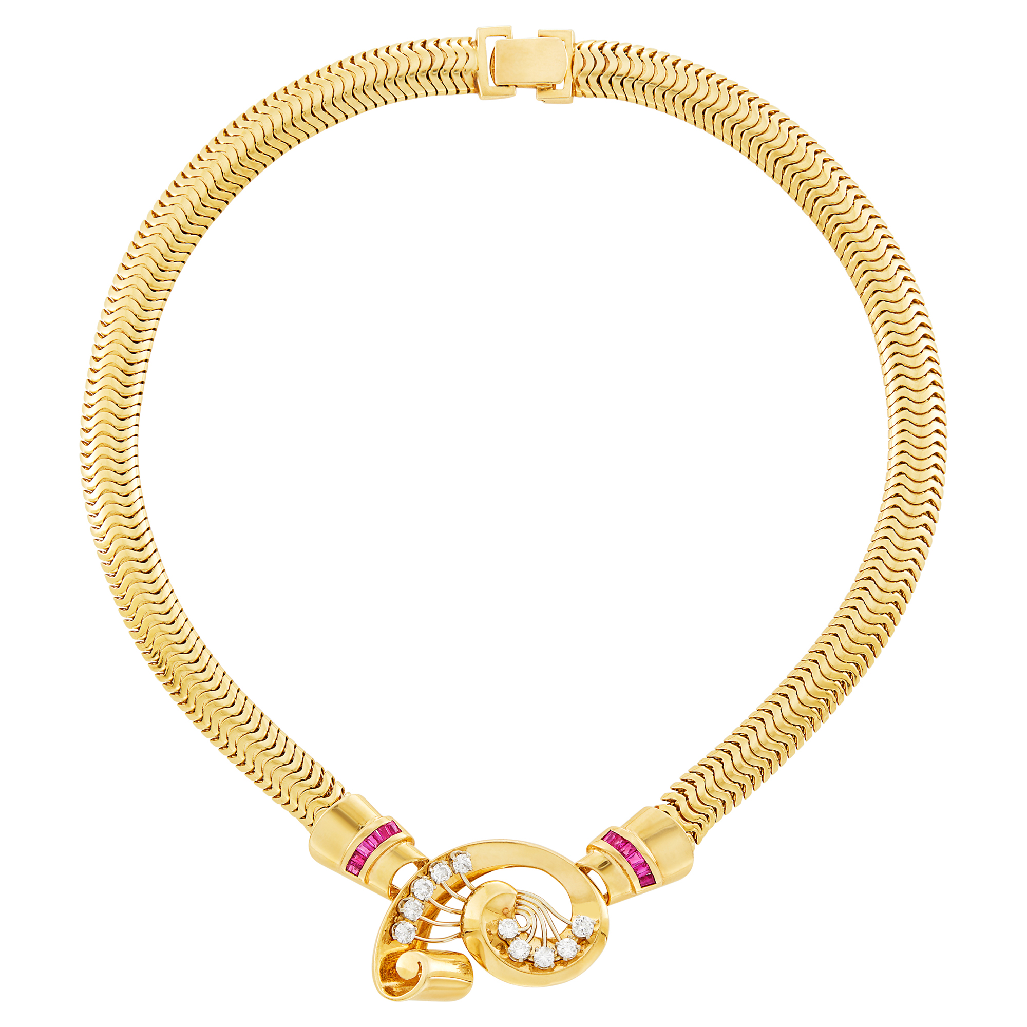 Lot image - Gold, Diamond and Ruby Snake Link Necklace