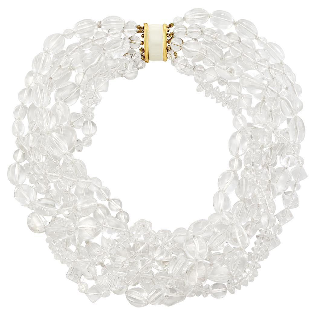 Lot image - Multistrand Rock Crystal, Gold and White Enamel Torsade Necklace, David Webb
