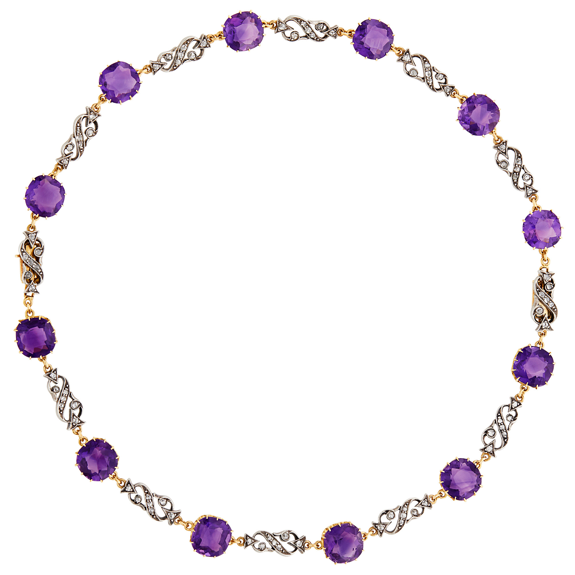 Lot image - Antique Silver, Gold, Amethyst and Diamond Necklace/Bracelets Combination
