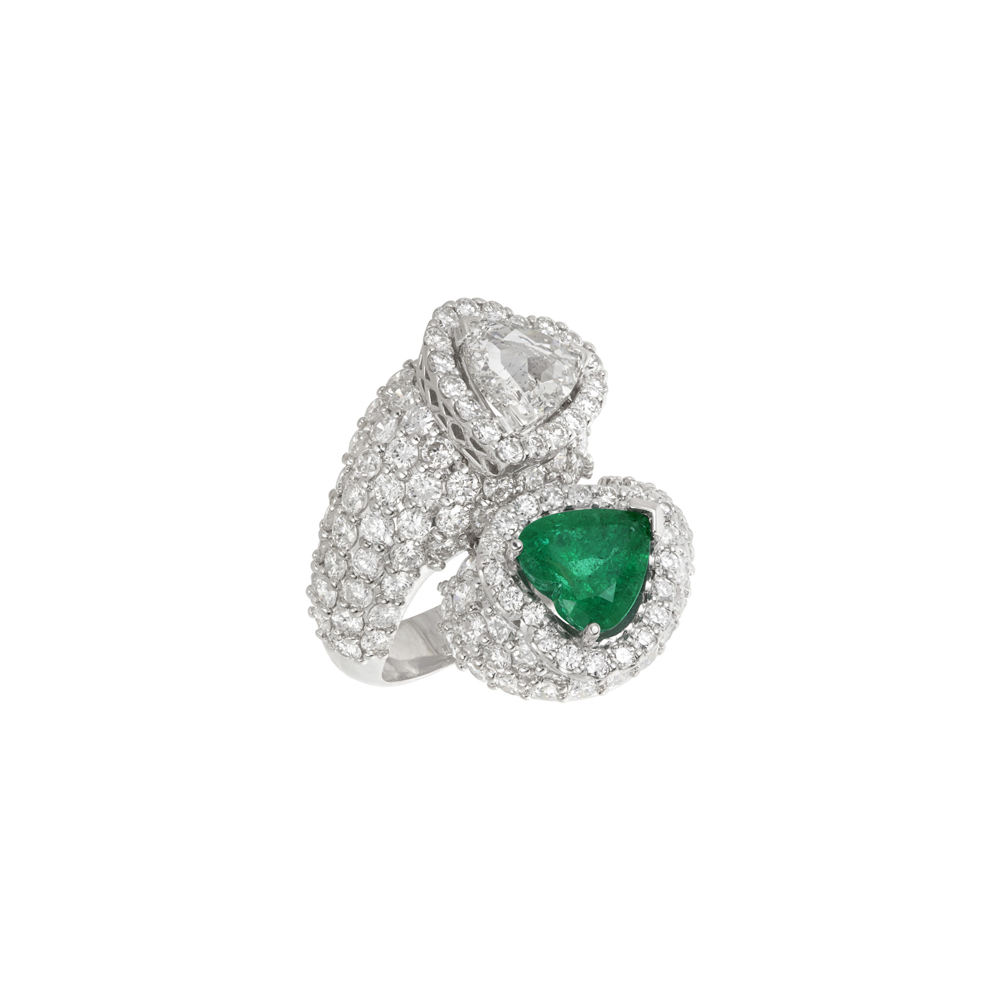 Lot image - White Gold, Emerald and Diamond Double Heart Bypass Ring
