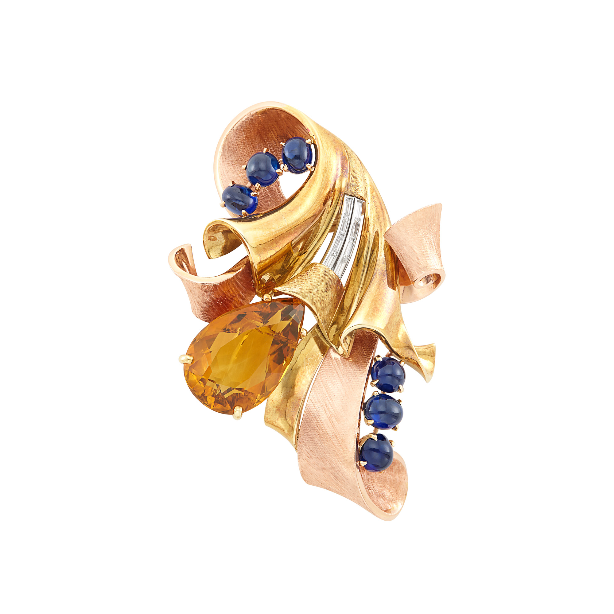 Lot image - Two-Color Gold, Citrine, Cabochon Sapphire and Diamond Clip-Brooch