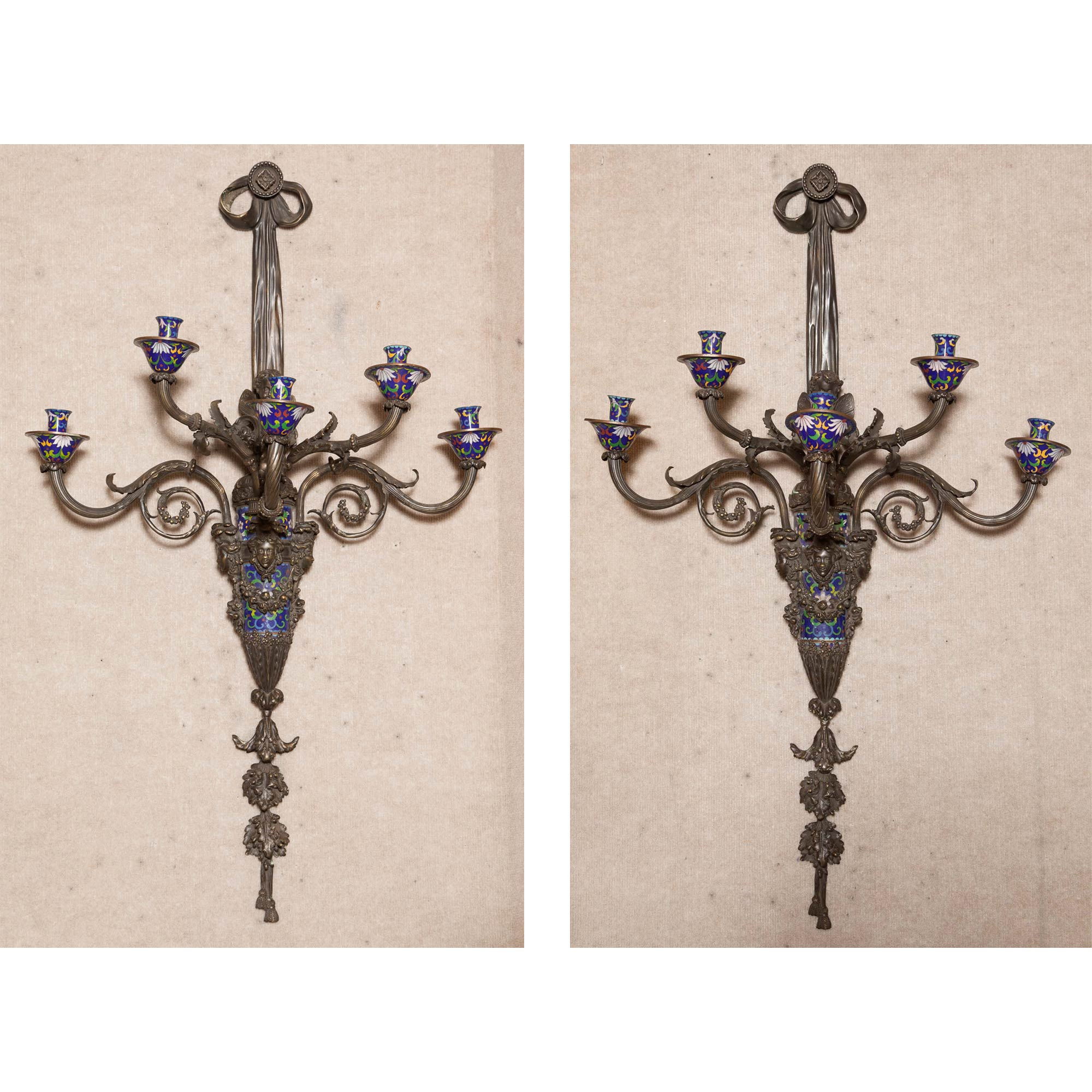 Lot image - Pair of Louis XV Style Bronze and Enamel Five-Light Sconces