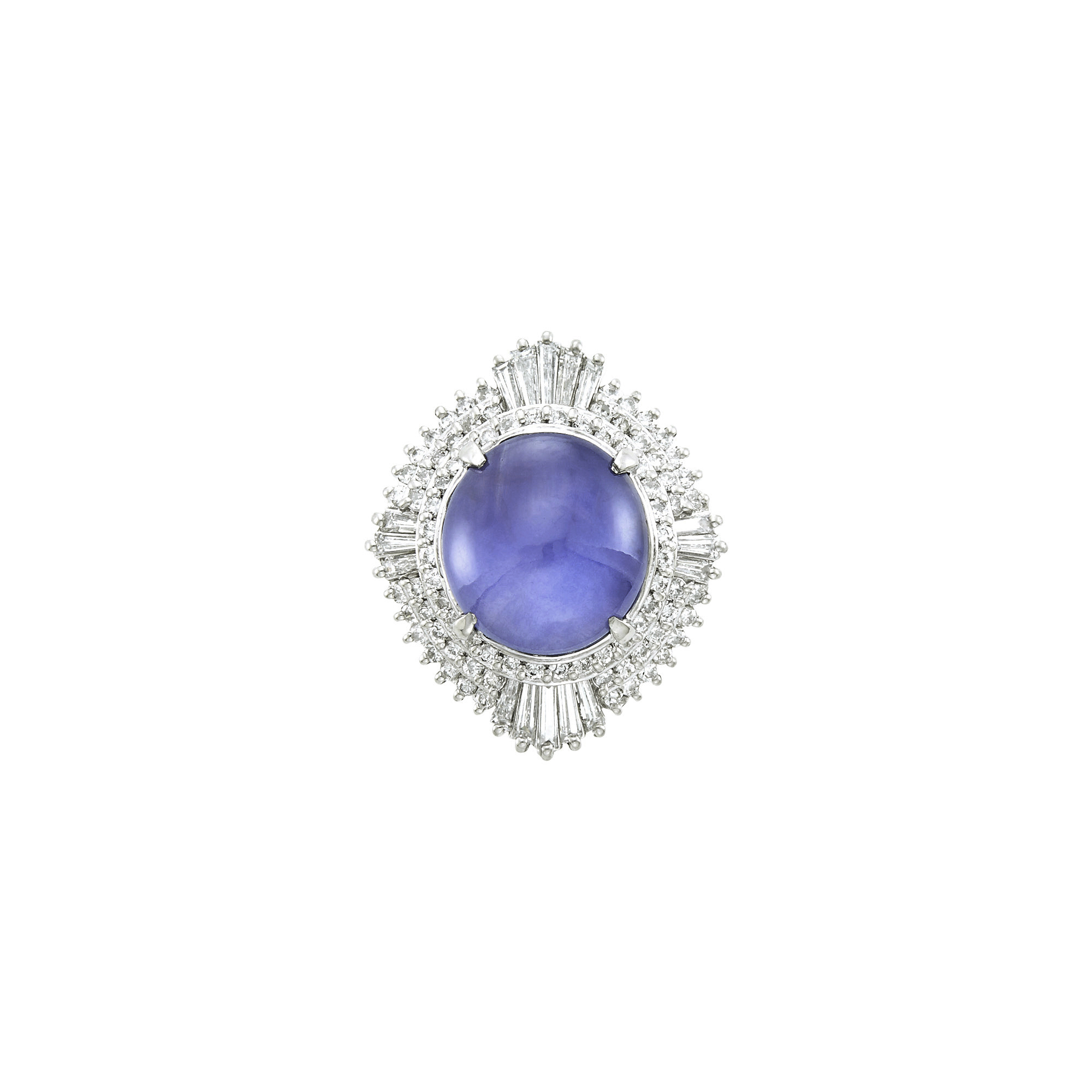 Lot image - Platinum, Color-Change Star Sapphire and Diamond Ring