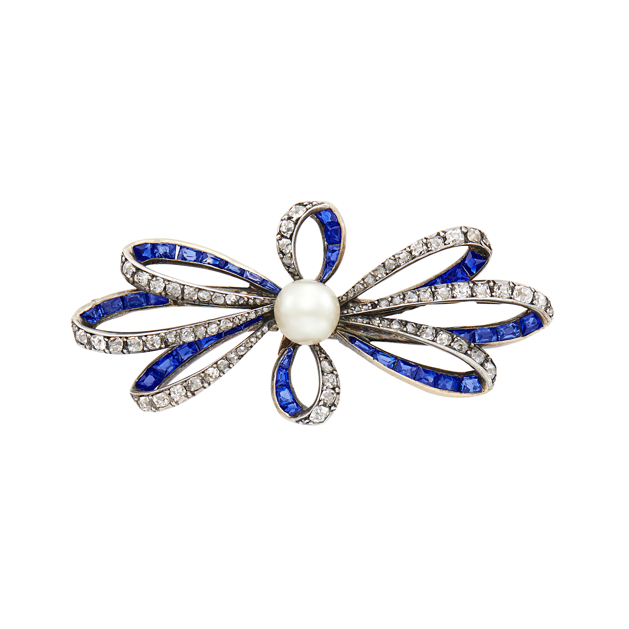 Lot image - Antique Silver, Gold, Diamond, Sapphire and Pearl Bow Brooch