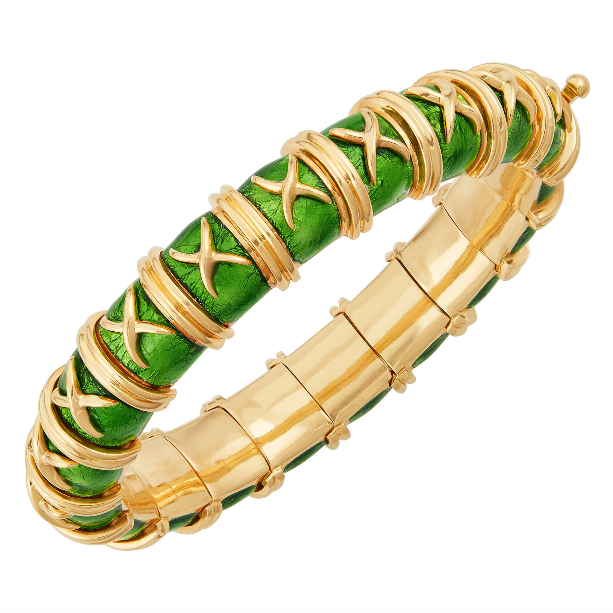 Lot image - Tiffany & Co., Schlumberger Gold and Green Enamel Croisillon Bangle Bracelet, France
