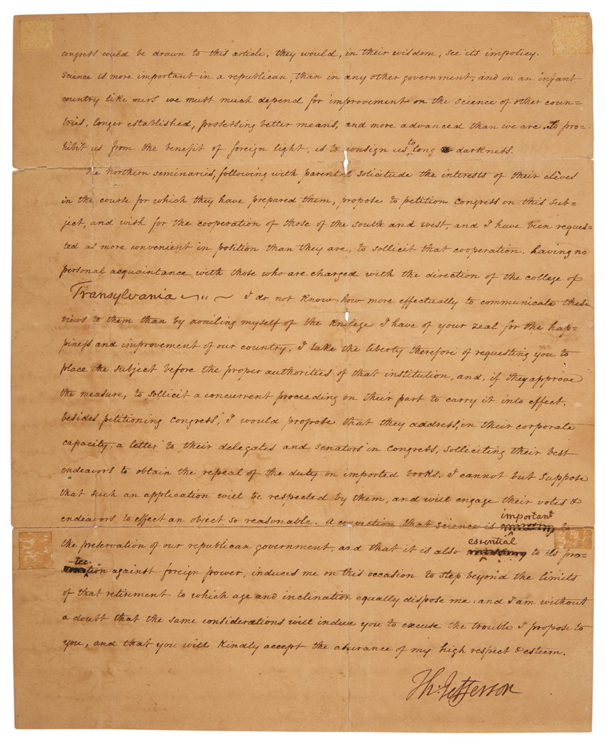 Lot image - JEFFERSON, THOMAS  Letter signed to Dr. Samuel Brown regarding the effect of high importation tariffs on books on American education, with franking signature on original cover