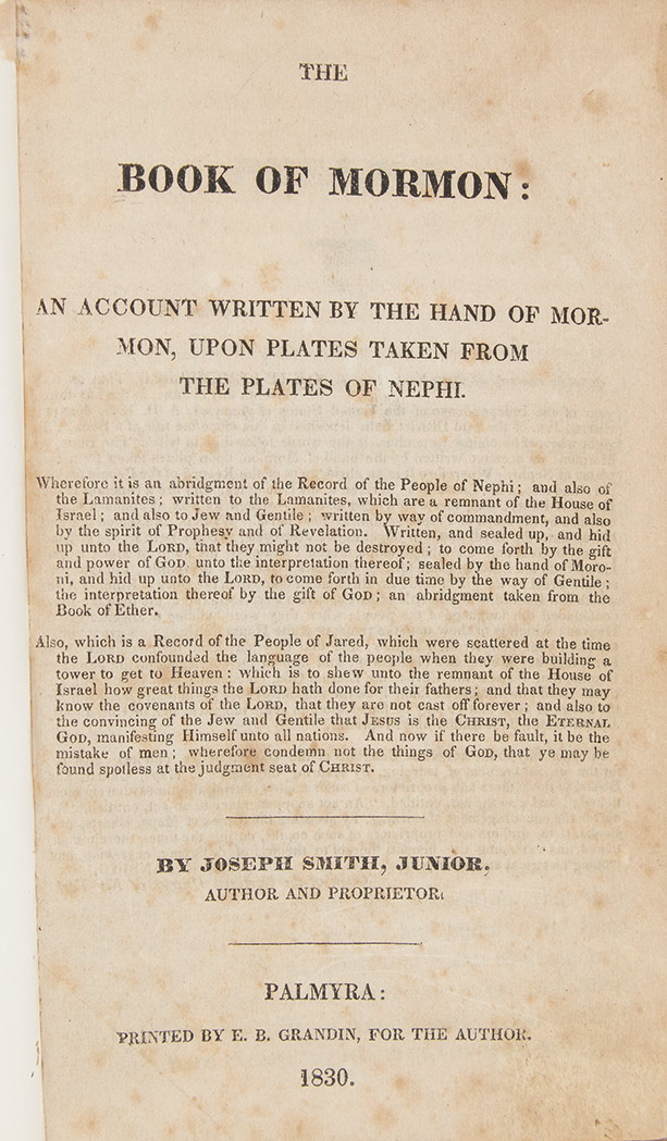 Lot image - SMITH, JOSEPH  The Book of Mormon: An Account written by the Hand of Mormon, upon Plates taken from the Plates of Nephi.