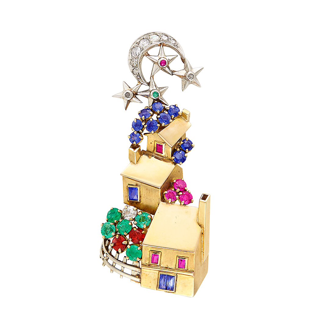 Lot image - Retro Gold, Platinum, Emerald, Ruby, Sapphire, Citrine and Diamond Clip-Brooch, France