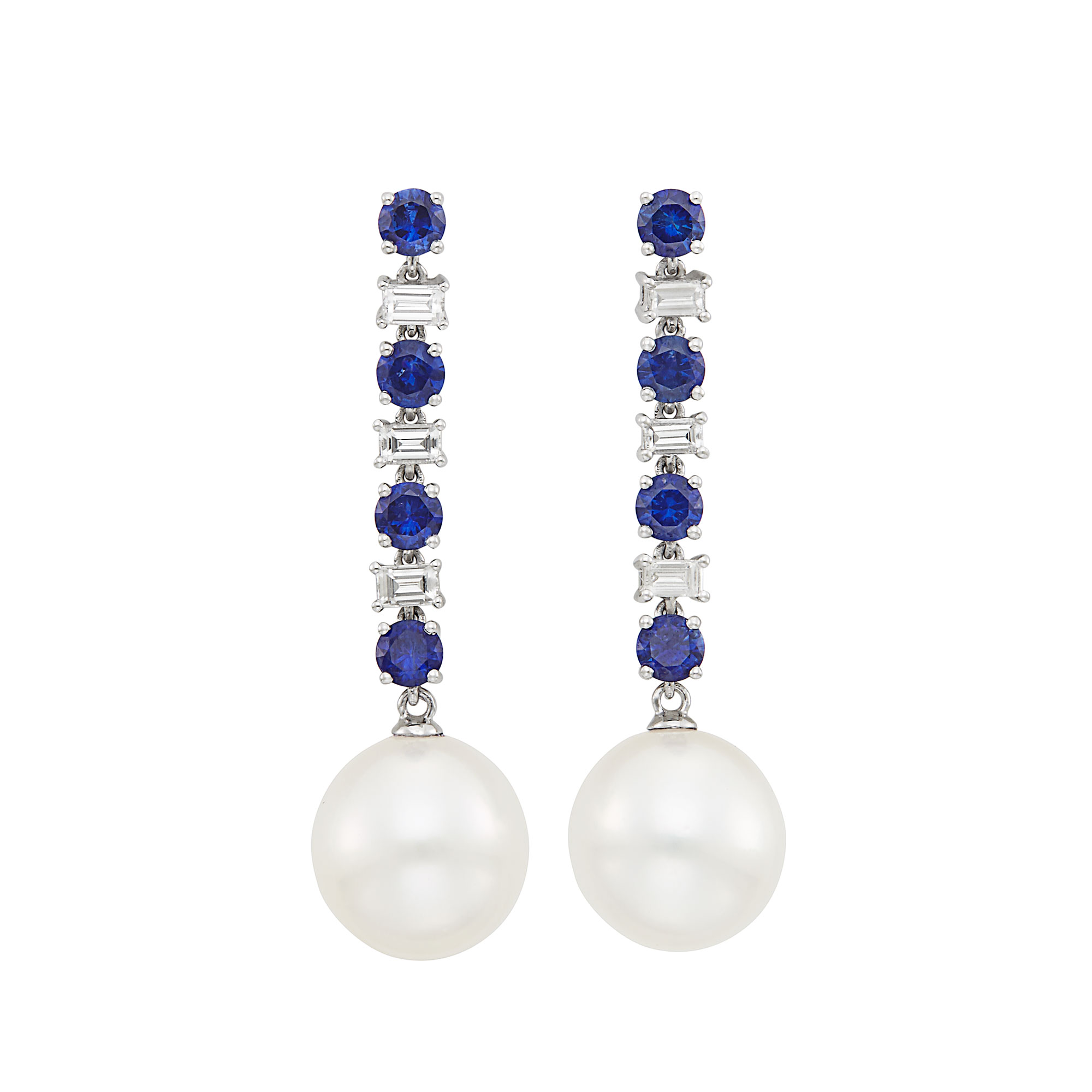 Lot image - Pair of White Gold, Sapphire, Diamond and South Sea Cultured Pearl Pendant-Earrings