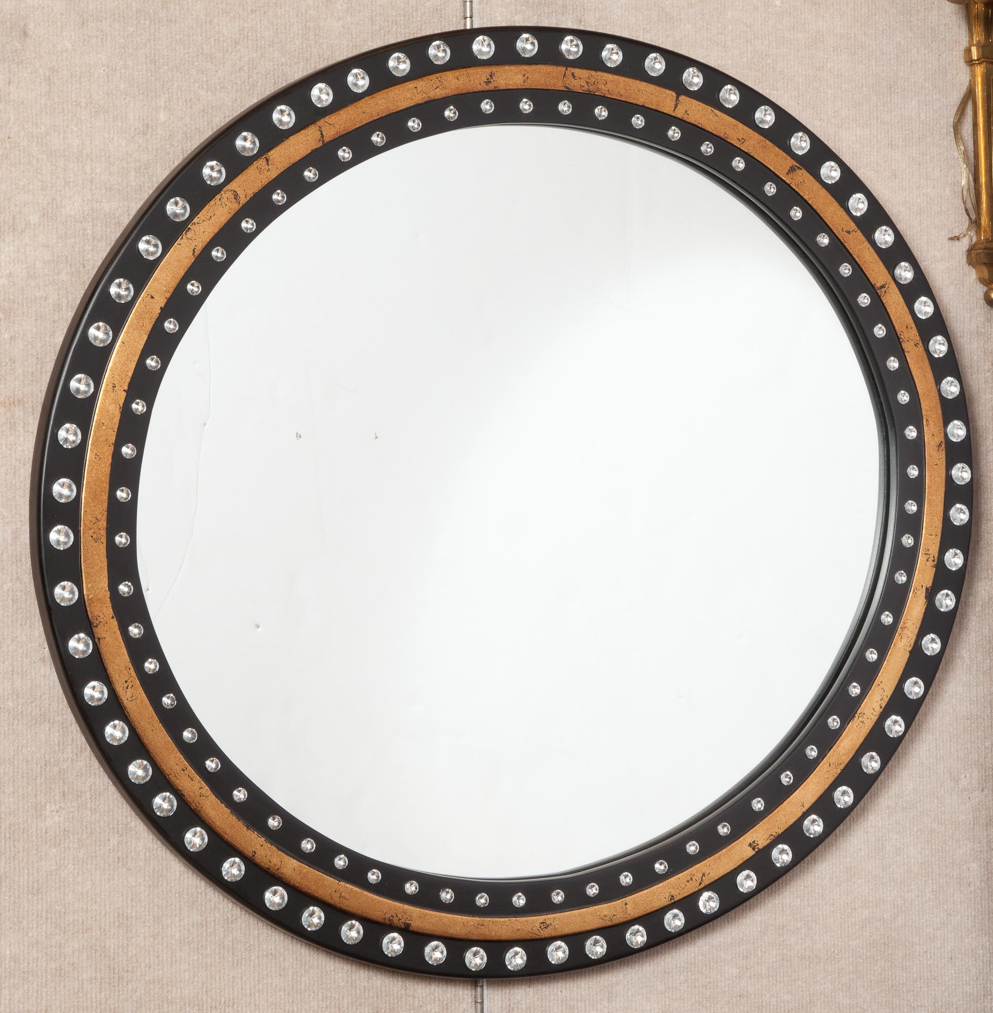 Lot image - Irish Style Jewel-Mounted Ebonized Oval Mirror
