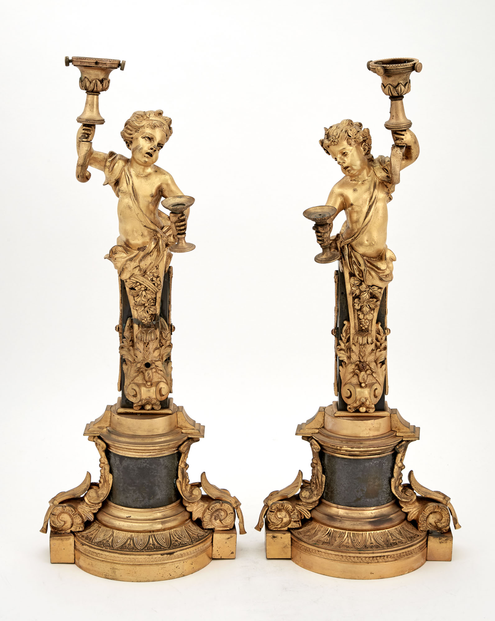 Lot image - Pair of Louis XVI Style Gilt and Patinated Metal Figural Bases Modeled as Bacchantes