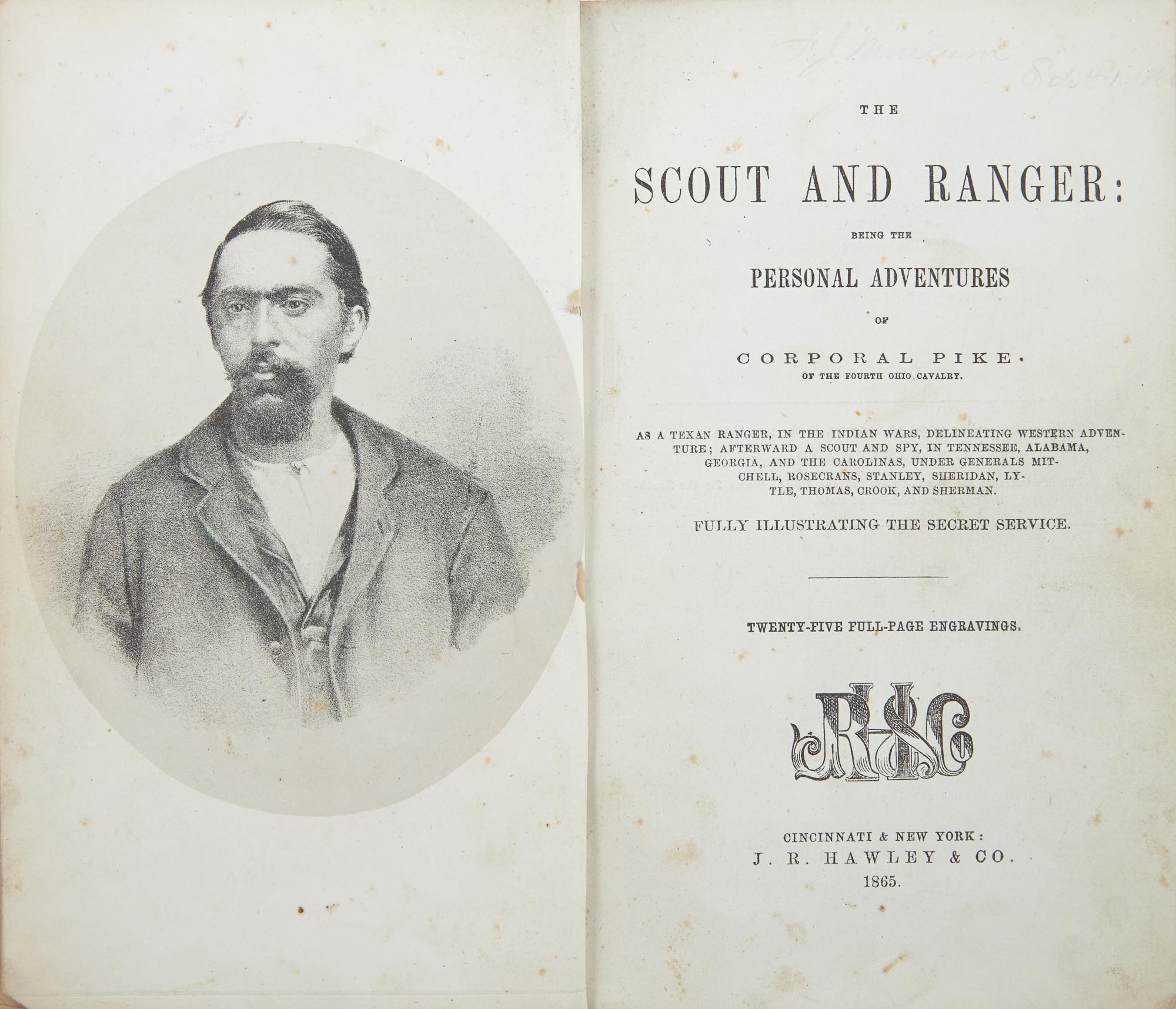 Lot image - PIKE, [JAMES]  The Scout and Ranger: being the personal adventures of Corporal Pike of the Fourth Ohio Cavalry.