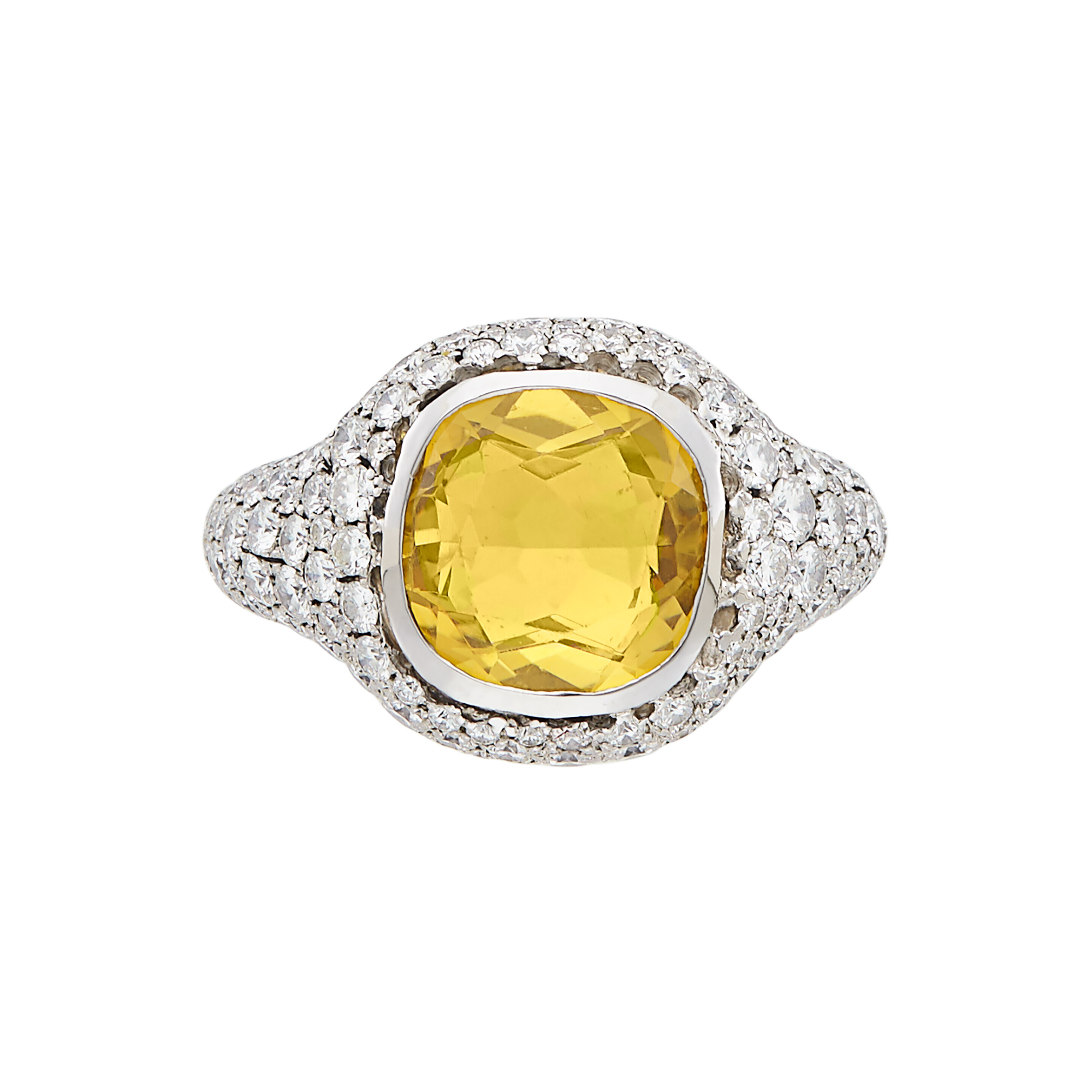 Lot image - White Gold, Citrine and Diamond Ring