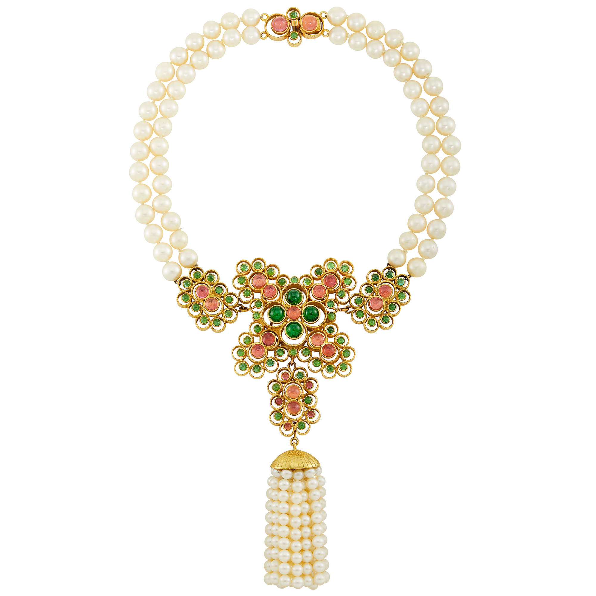 Lot image - Double Strand Cultured Pearl, Gold and Cabochon Tourmaline and Pink Tourmaline Tassel Necklace