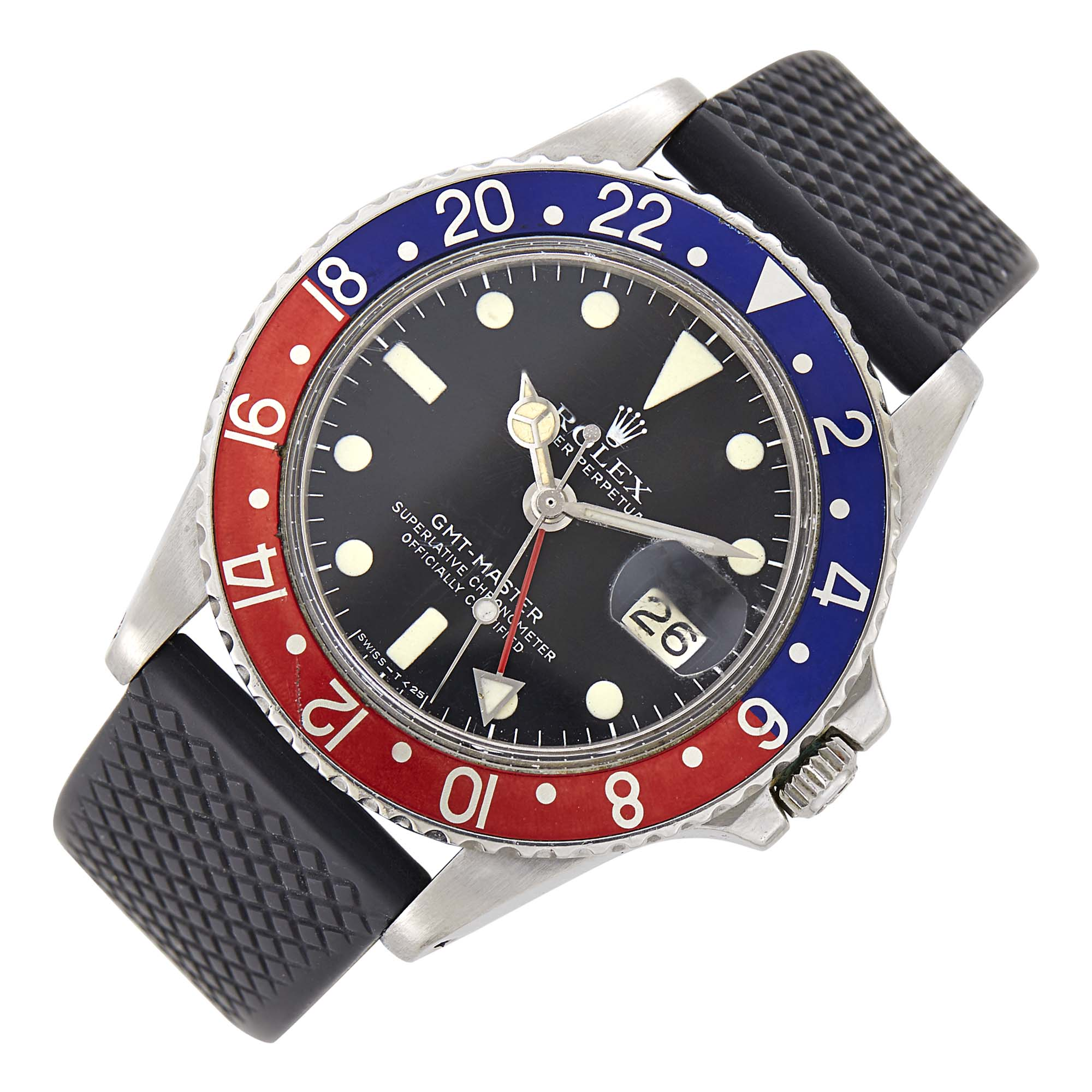 Lot image - Gentlemans Rolex Stainless Steel GMT-Master Oyster Perpetual Wristwatch, Ref. 1675