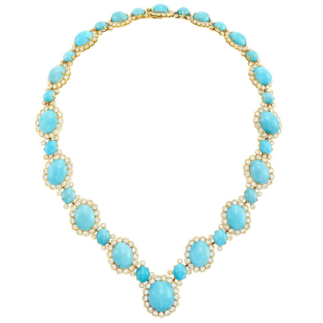 Lot image - Gold, Turquoise and Diamond Necklace