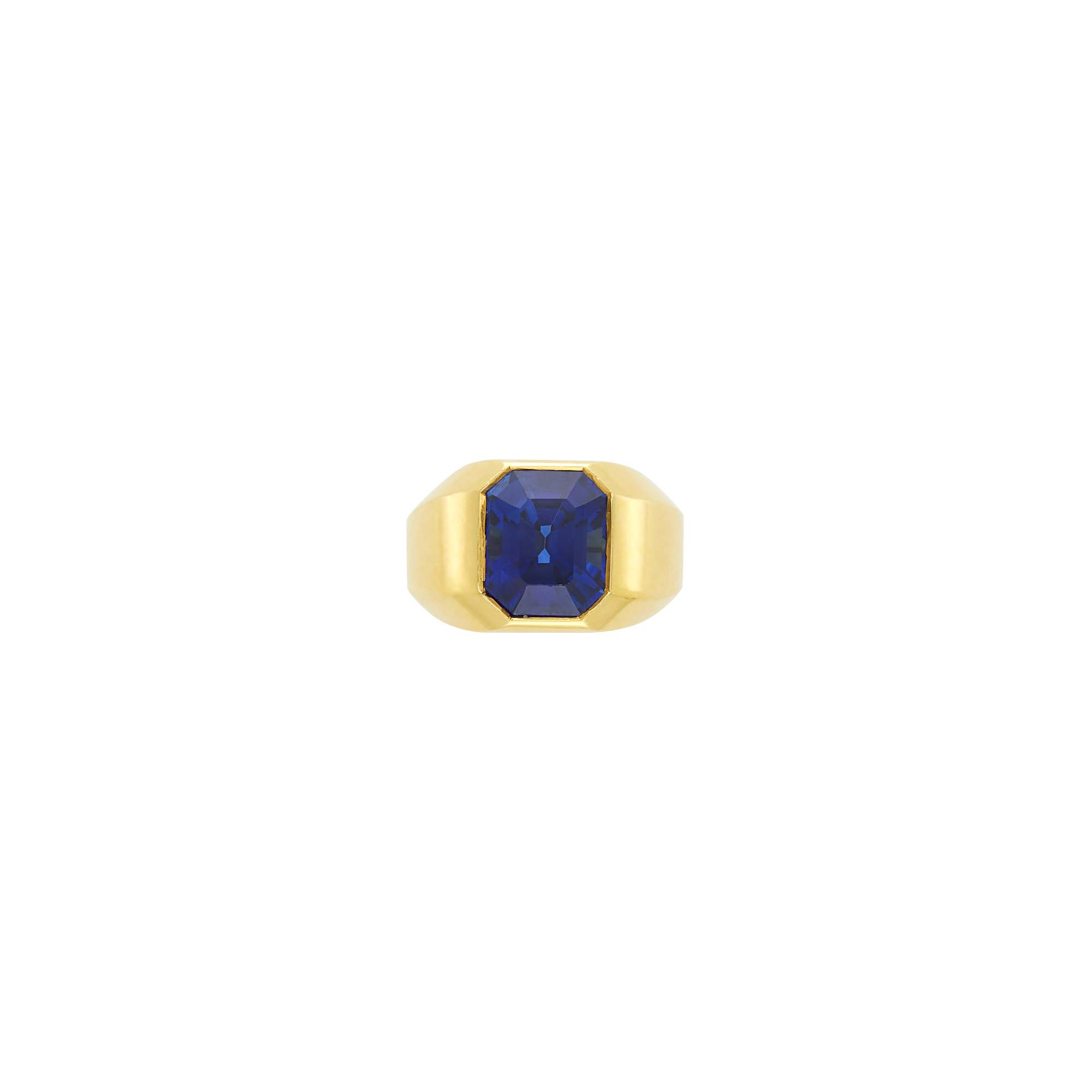 Lot image - Gold and Sapphire Gypsy Pinky Ring
