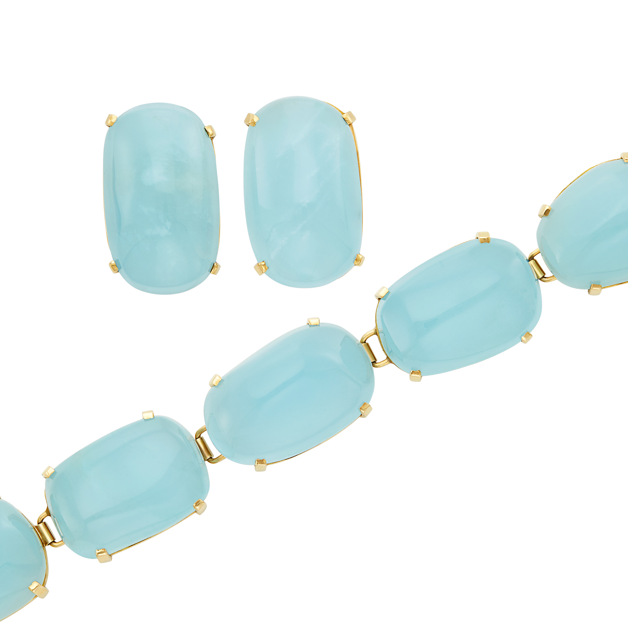 Lot image - Gold and Cabochon Aquamarine Bracelet and Pair of Earclips