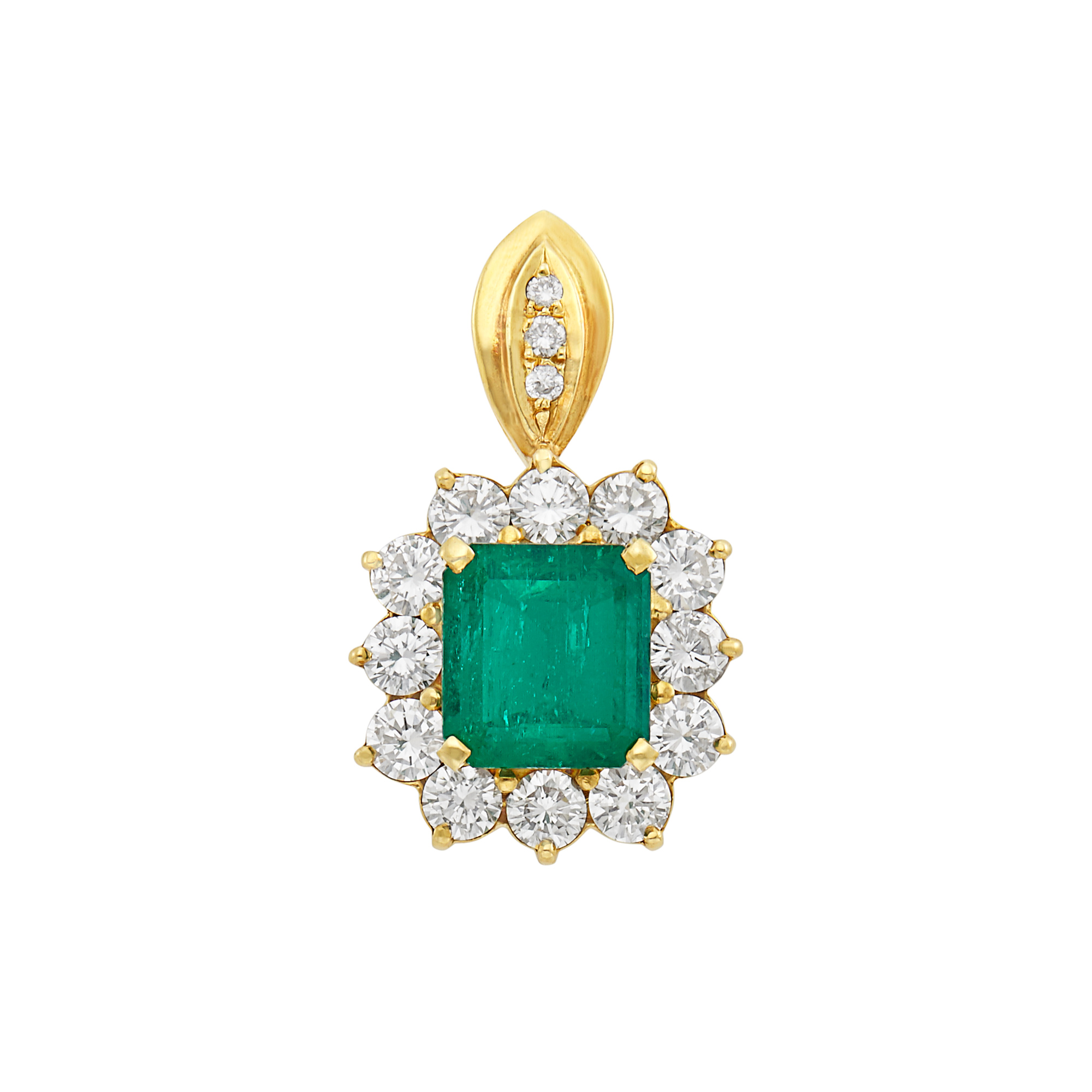 Lot image - Gold, Emerald and Diamond Pendant