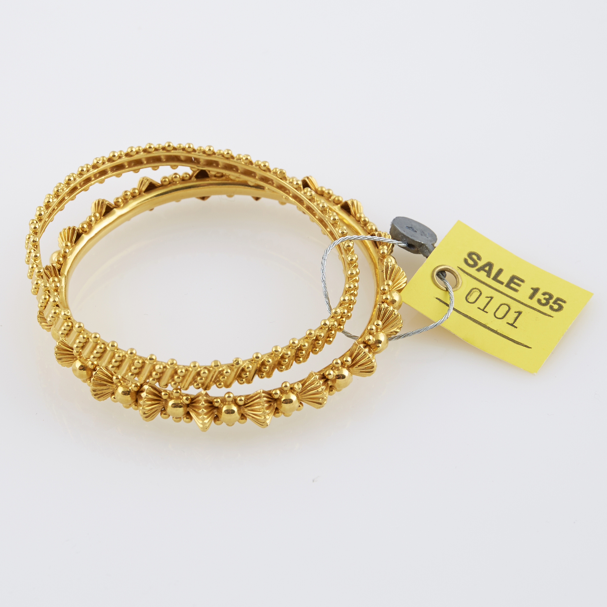 Lot image - Two Gold Rigid Bracelets, 22K 21 dwt.