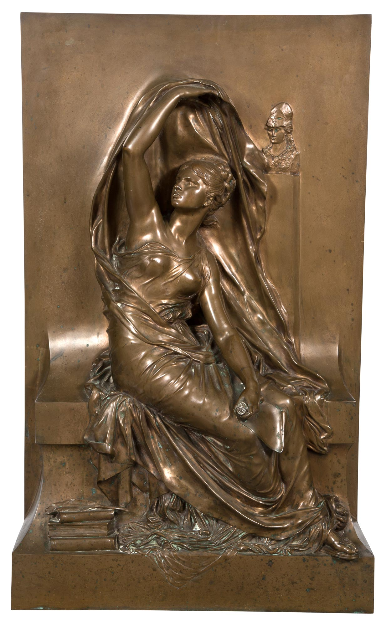 Lot image - French Neoclassical Style Bronze Relief Plaque of a Maiden