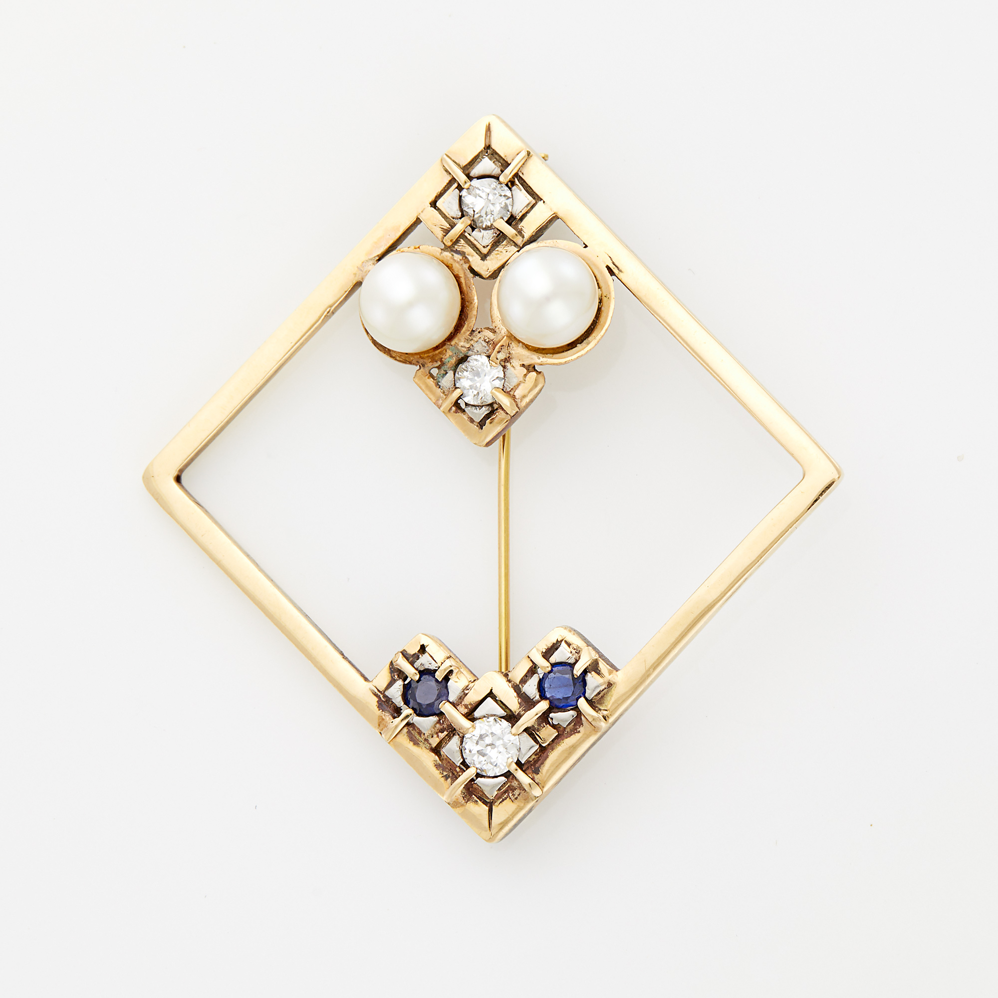 Lot image - Gold, Sapphire, Diamond and Cultured Pearl Brooch