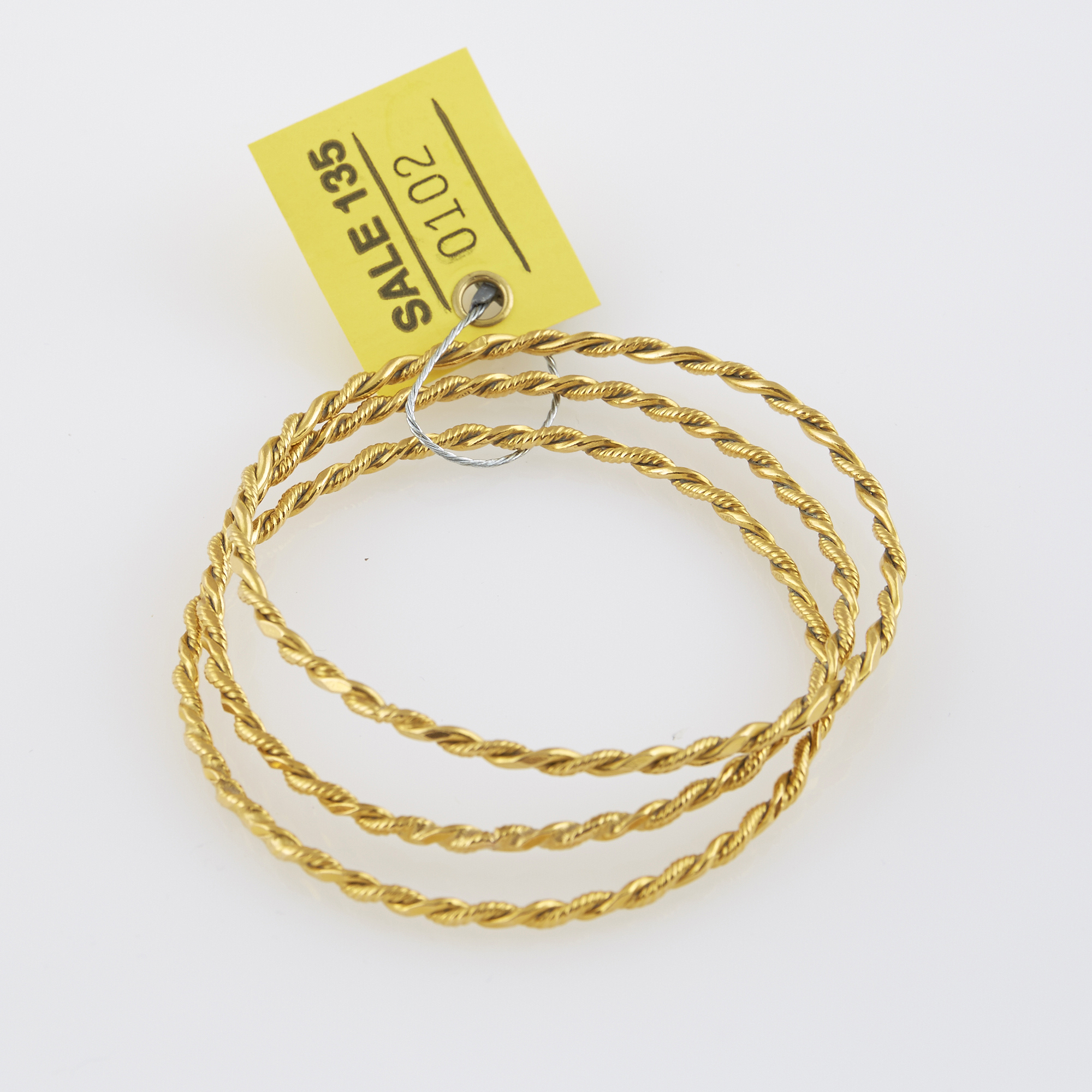 Lot image - Three Gold Rigid Bracelets, 22K 21 dwt.