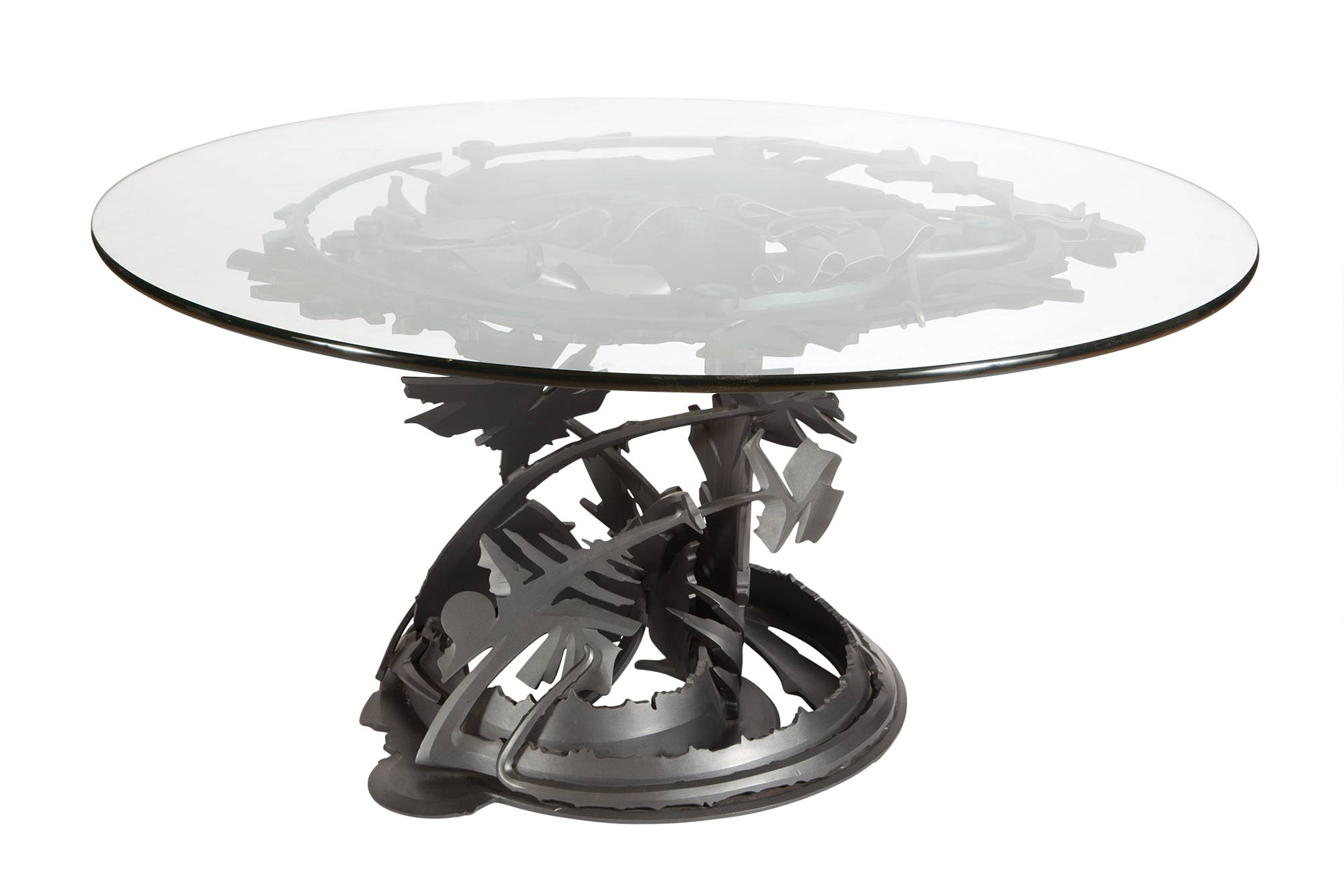 Lot image - Albert Paley Steel and Glass Dragons Back Table
