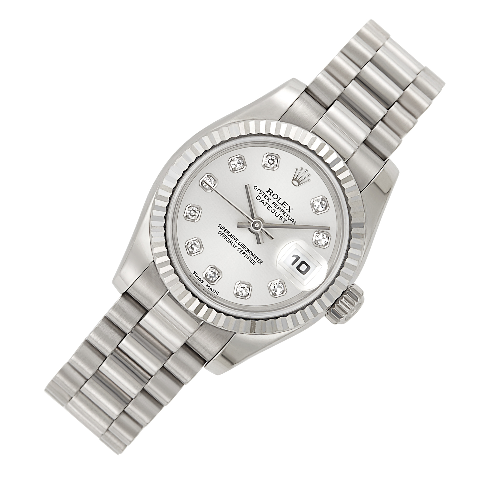 Lot image - Rolex, White Gold and Diamond Oyster Perpetual DateJust Wristwatch, Ref. 179179