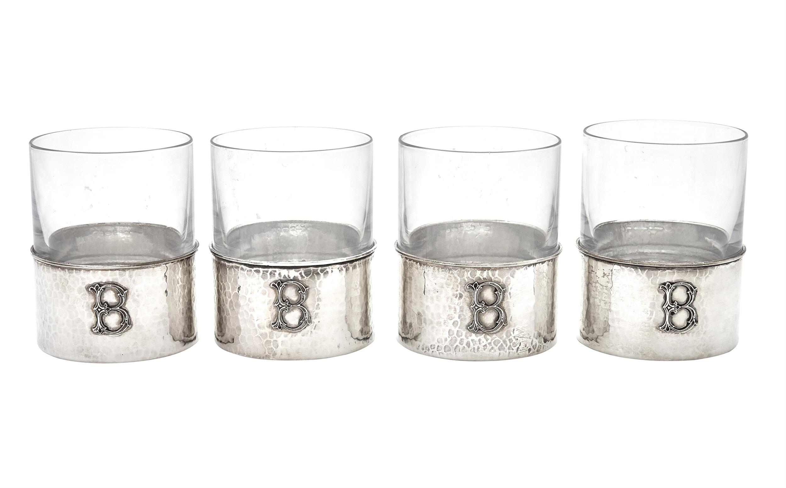 Lot image - Set of Four Federico Buccellati Sterling Silver and Glass Tumblers