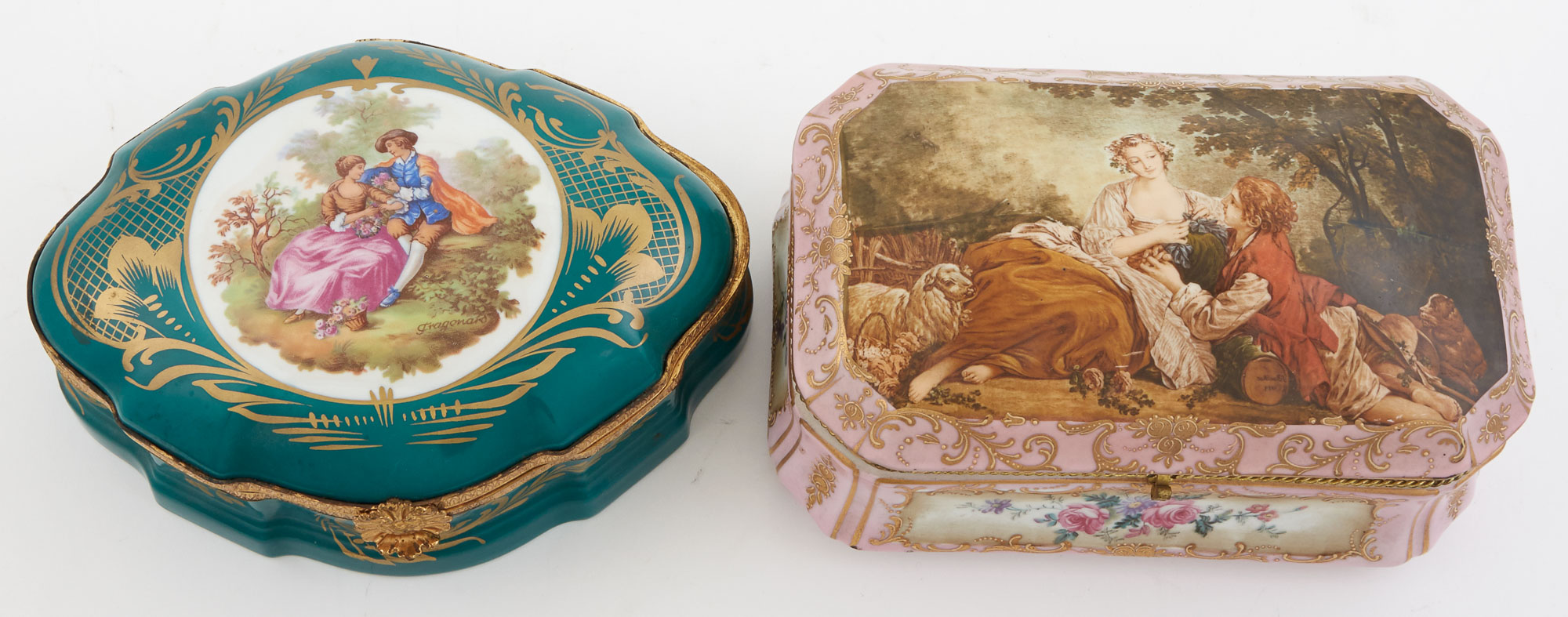 Lot image - Two Sèvres Style Gilt-Metal Mounted Transfer Print Decorated Porcelain Boxes
