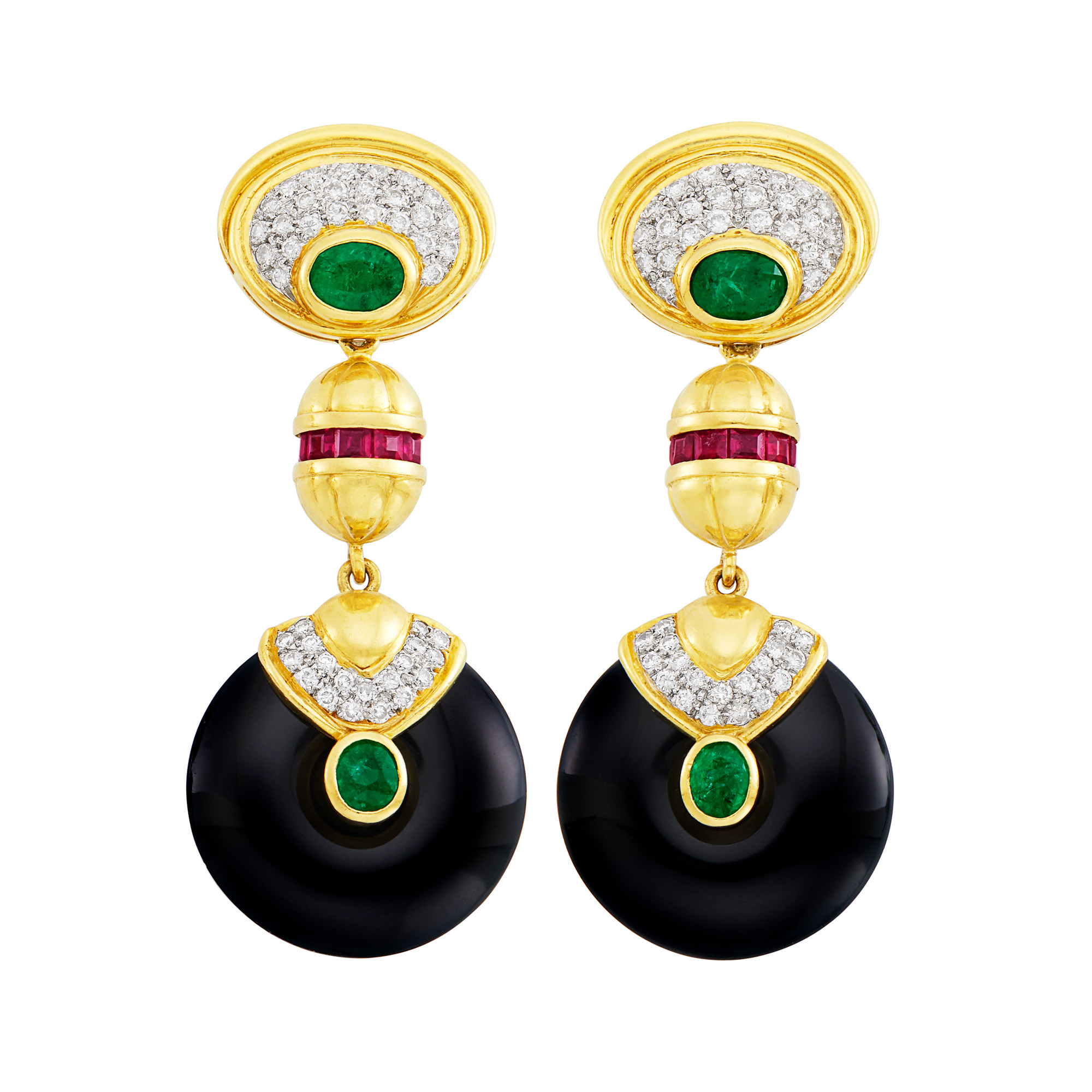 Lot image - Pair of Gold, Black Onyx, Diamond, Emerald and Ruby Pendant-Earclips with Interchangeable Pendants